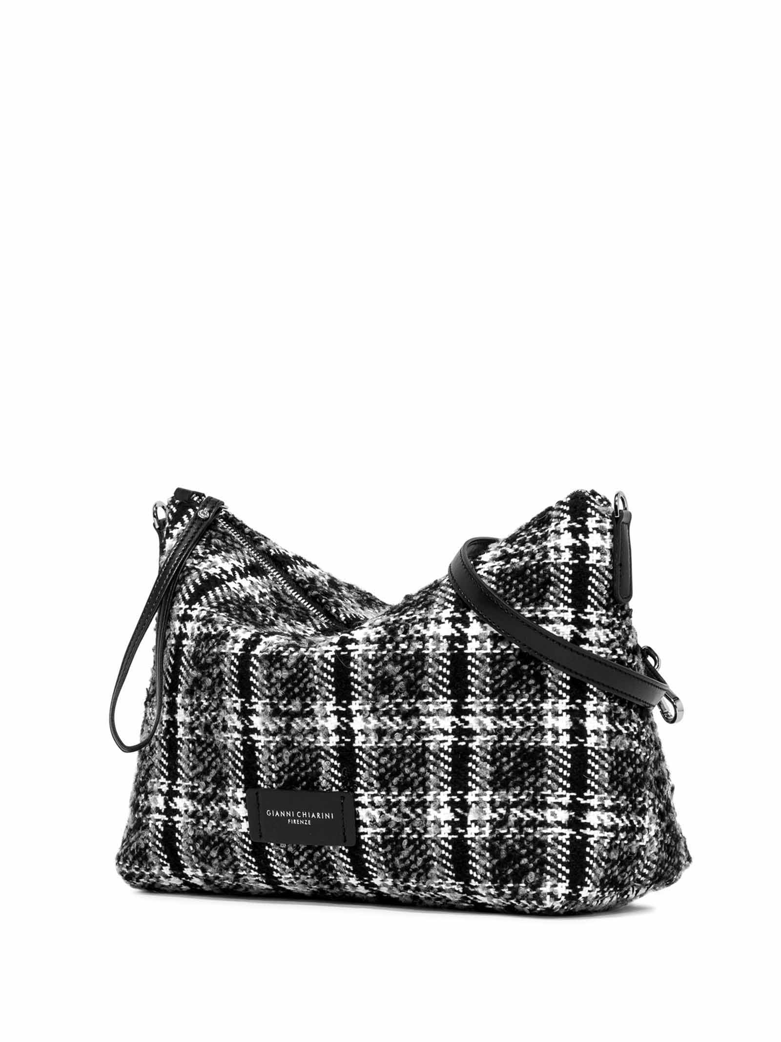 Women's Accessories Empty Bag in White and Black Fabric with Leather Shoulder Strap and Bracelet Gianni Chiarini   Bags and backpacks   SB9391041