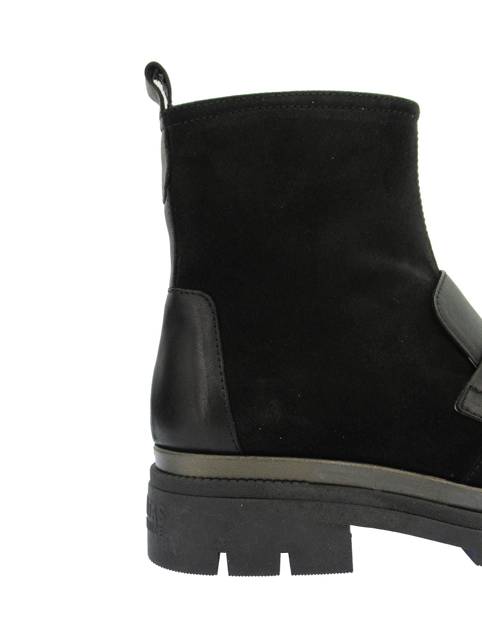 Women's Shoes Ankle Boots Alison in Black Leather and Suede with Burnished Accessory and Rubber Wedge Hispanitas | Ankle Boots | HI211892001