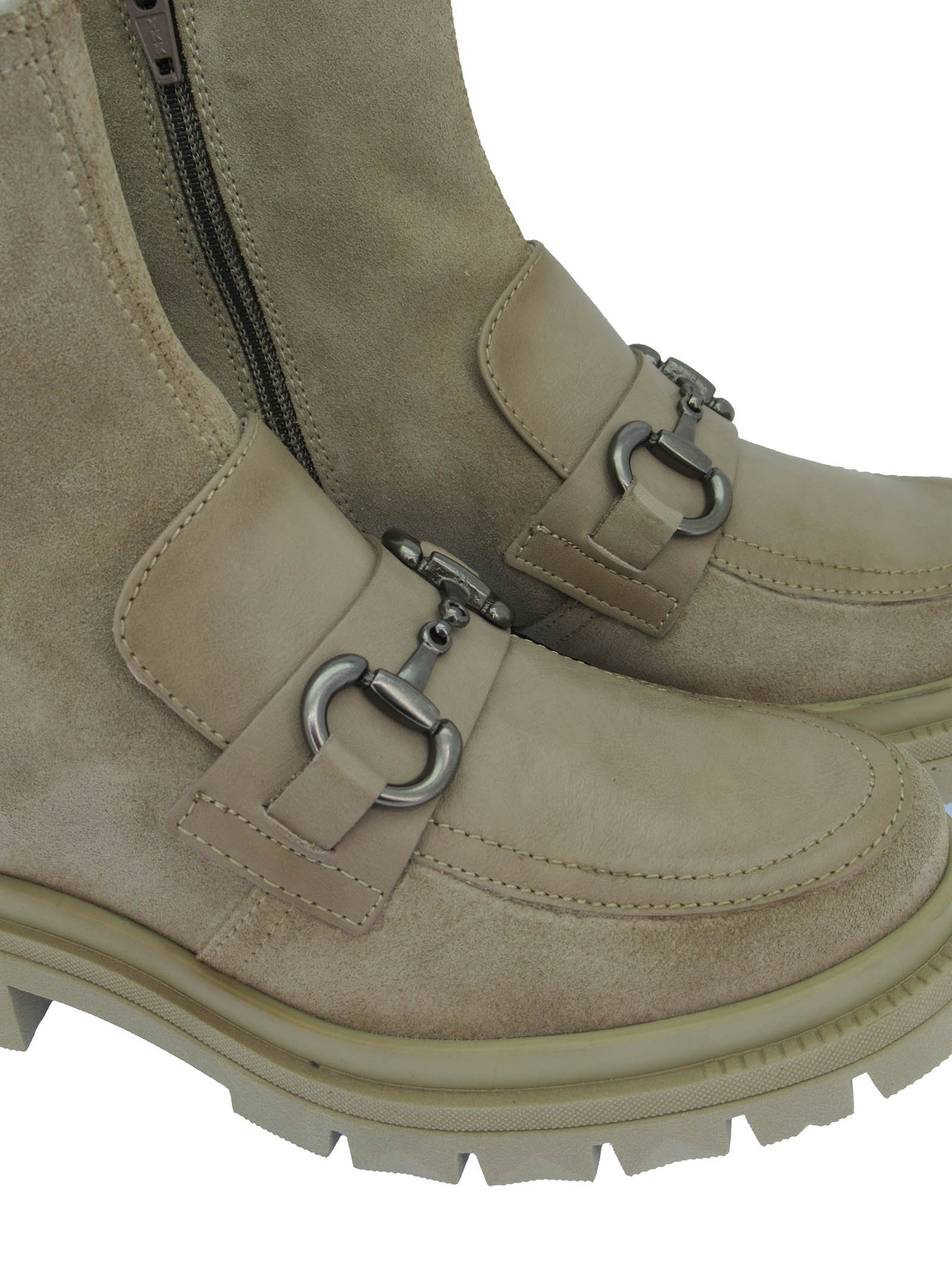 Women's Shoes Ankle Boots Alison in Beige Leather and Suede with Burnished Accessory and Rubber Wedge Hispanitas | Ankle Boots | HI211892015