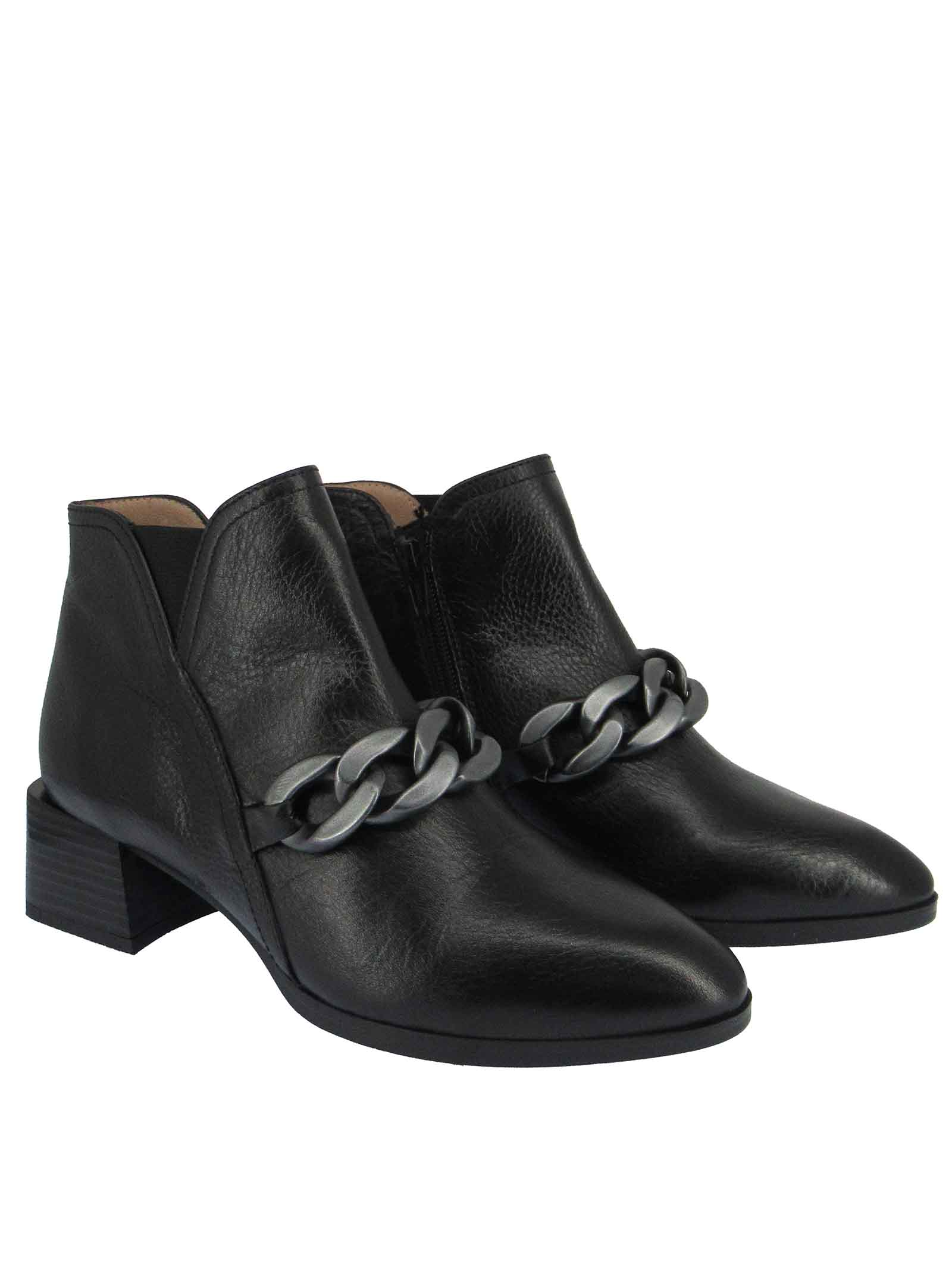 Women's Shoes Ankle Boots Alpes in Black Leather with Brunished Chain and Matching Leather Heel Hispanitas | Ankle Boots | HI211680001