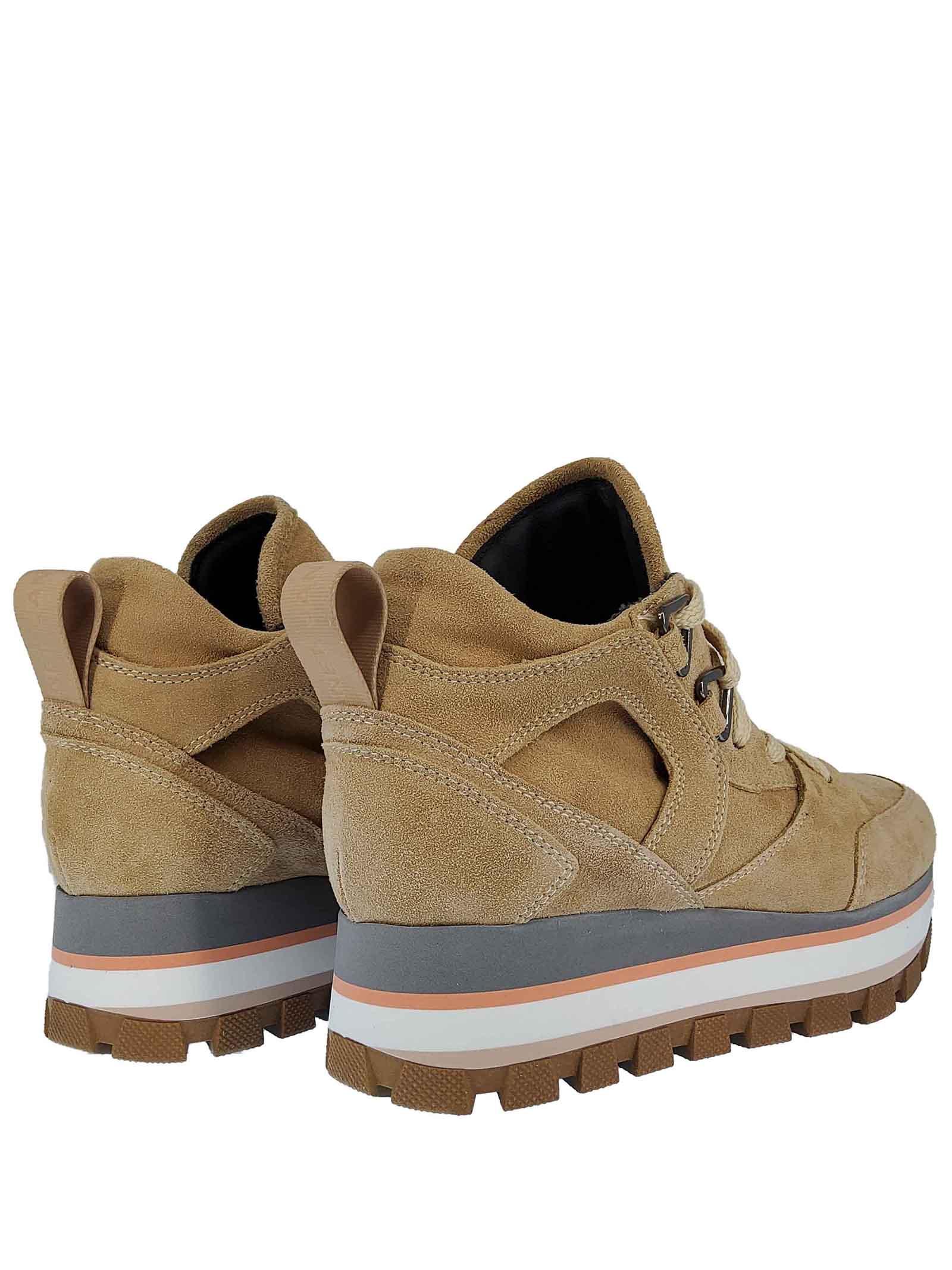 Calzature Donna Sneakers Fleur Margot in Pelle e Camoscio Beige con Fondo in Gomma Carrarmato Janet & Janet | Sneakers | 02052040