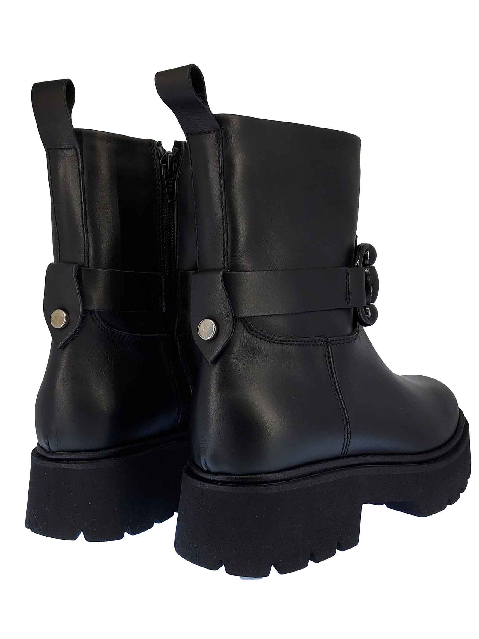 Women's Shoes Amphibius Ankle Bootsi Odette in Black Leather with Matching Strap and Clamp Rubber Tank Sole and Side Zip Janet & Janet   Ankle Boots   02256001