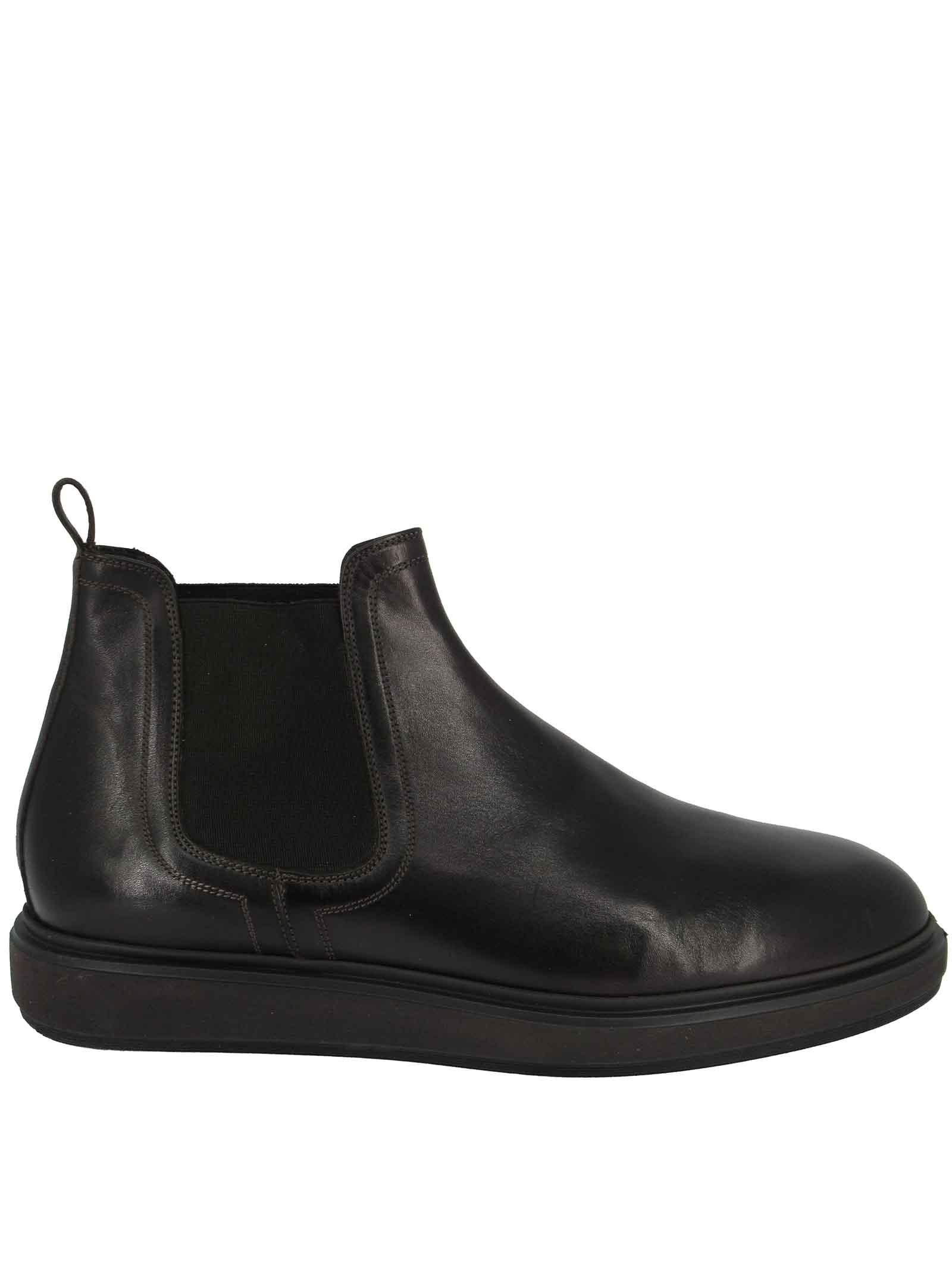 Calzature Uomo Stivaletti Chelsea Boot in Pelle Marrone e Fondo Gomma Zeppa Jerold Wilton | Stivaletti | 1072MORO