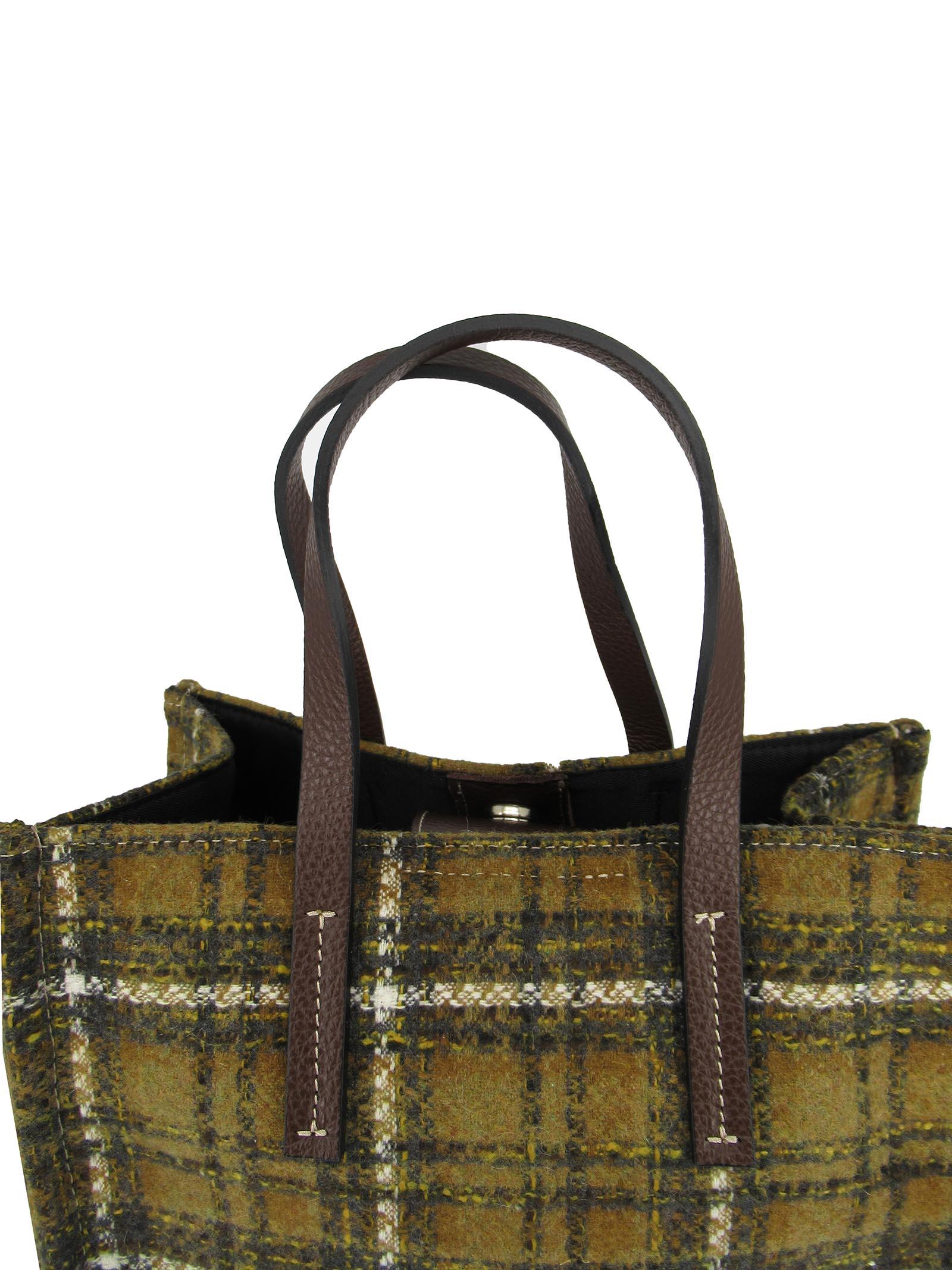 Borse Donna Mini Bag in Tessuto Madras Senape con Manici in Pelle Senape Kassiopea | Borse e zaini | 1/2 UMILTA465