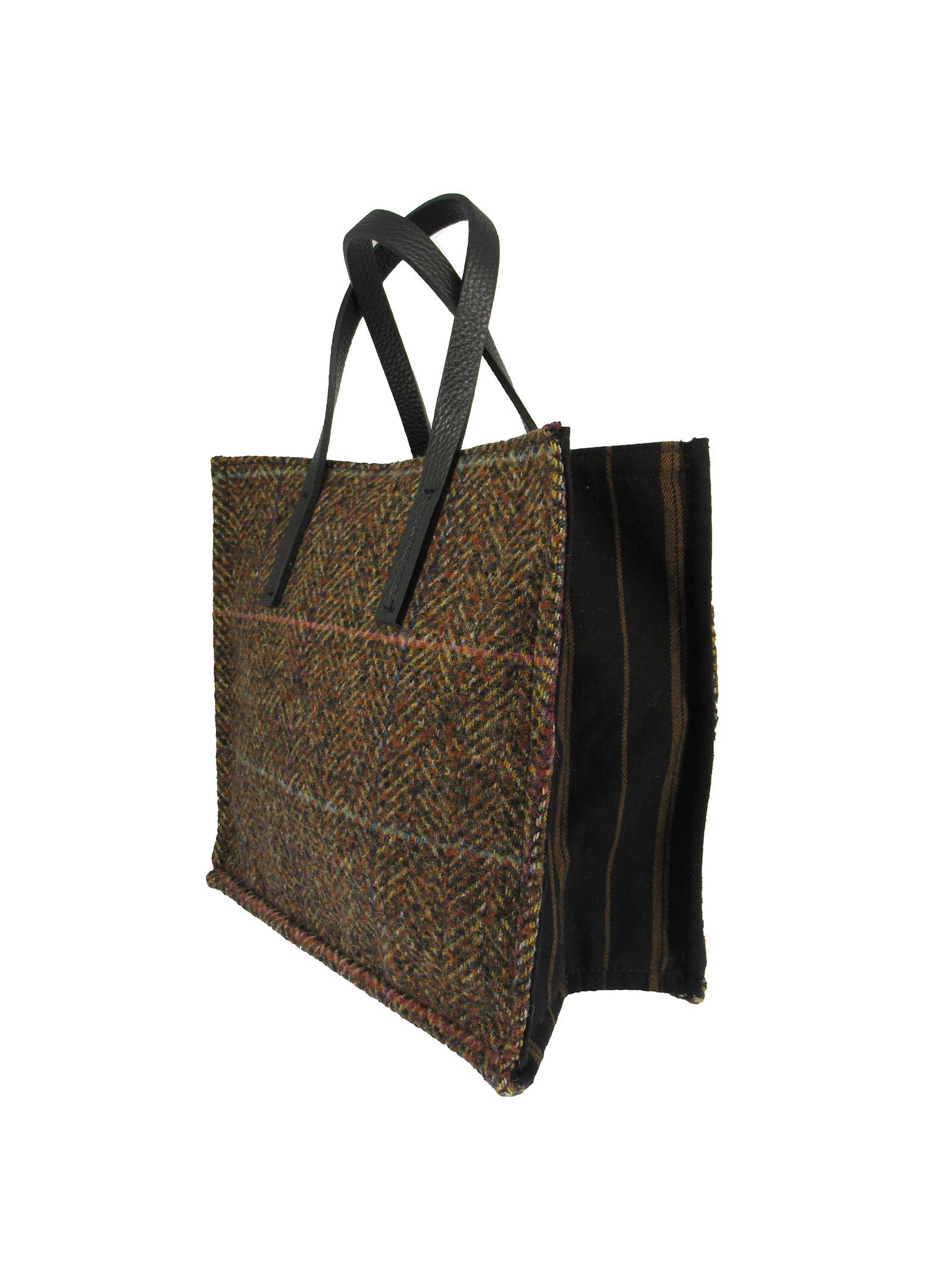 Borse Donna Mini Bag in Tessuto Madras Marrone con Manici in Pelle Marrone Kassiopea   Borse e zaini   1/2 UMILTA673
