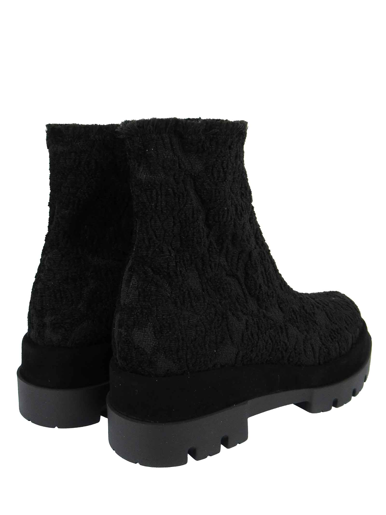 Women's Shoes Ankle Boots in Black Jacquard Elasticized Fabric with Rubber Wedge Tank Sole Le Babe   Ankle Boots   313001