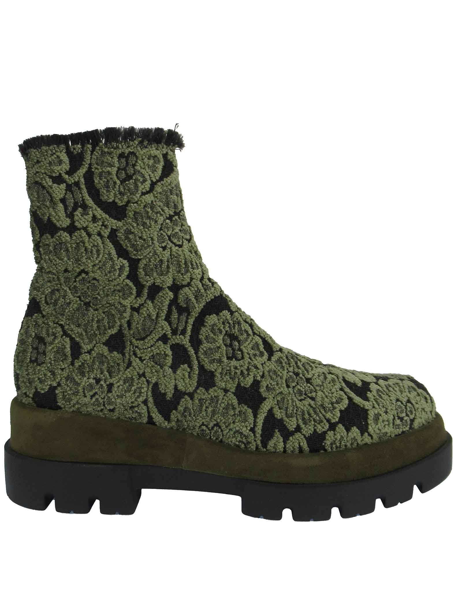 Women's Shoes Ankle Boots in Military Green Jacquard Elasticized Fabric with Rubber Wedge Tank Sole Le Babe | Ankle Boots | 313006