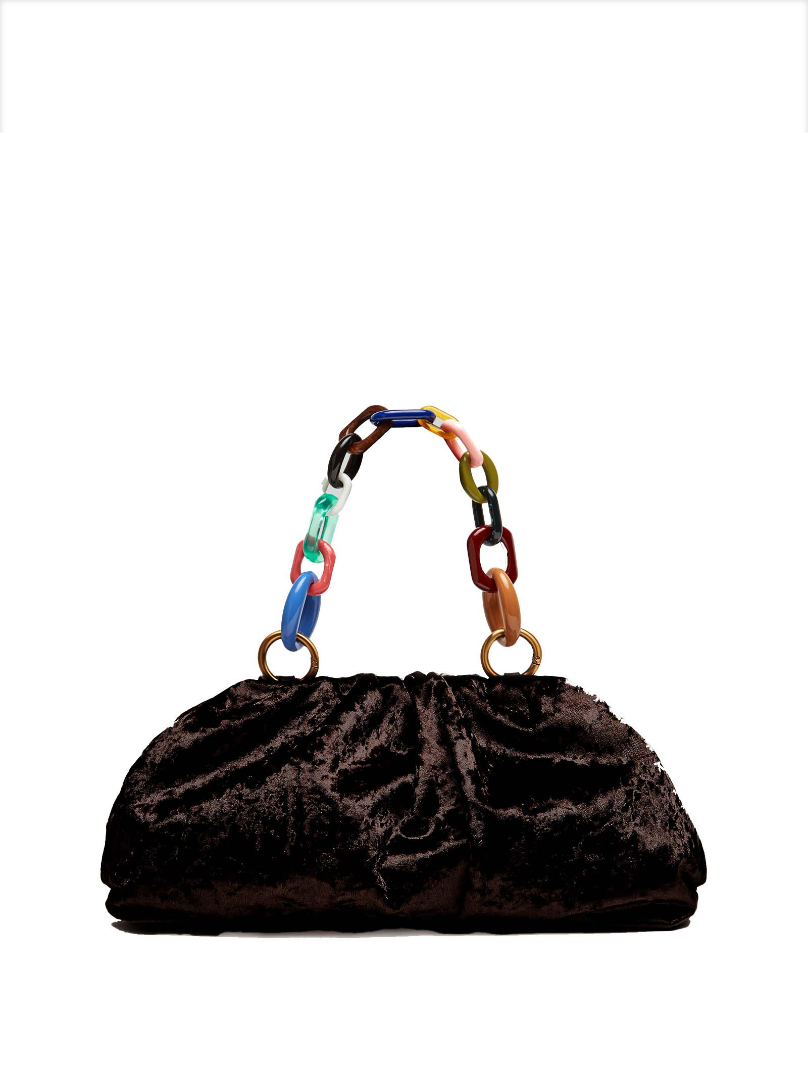 Borsa Donna Pochette Velvet Grunge in Velluto Moiré Nero con Manico a Catena Multicolore Maliparmi | Borse e zaini | BM01606103020000