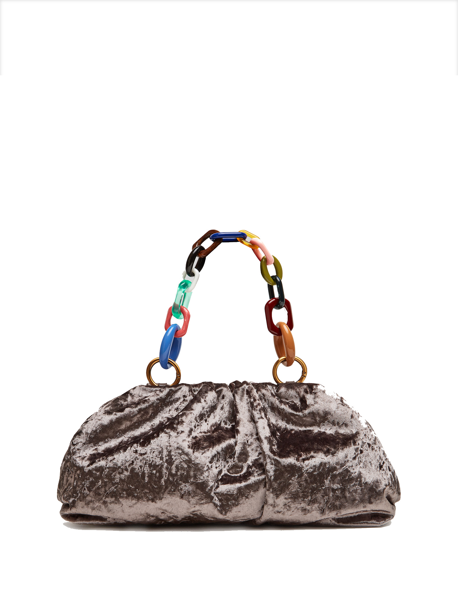 Women's Clutch Bag Velvet Grunge in Grey Velvet Moiré with Multicoloured Chain Handle  Maliparmi | Bags and backpacks | BM01606103021020