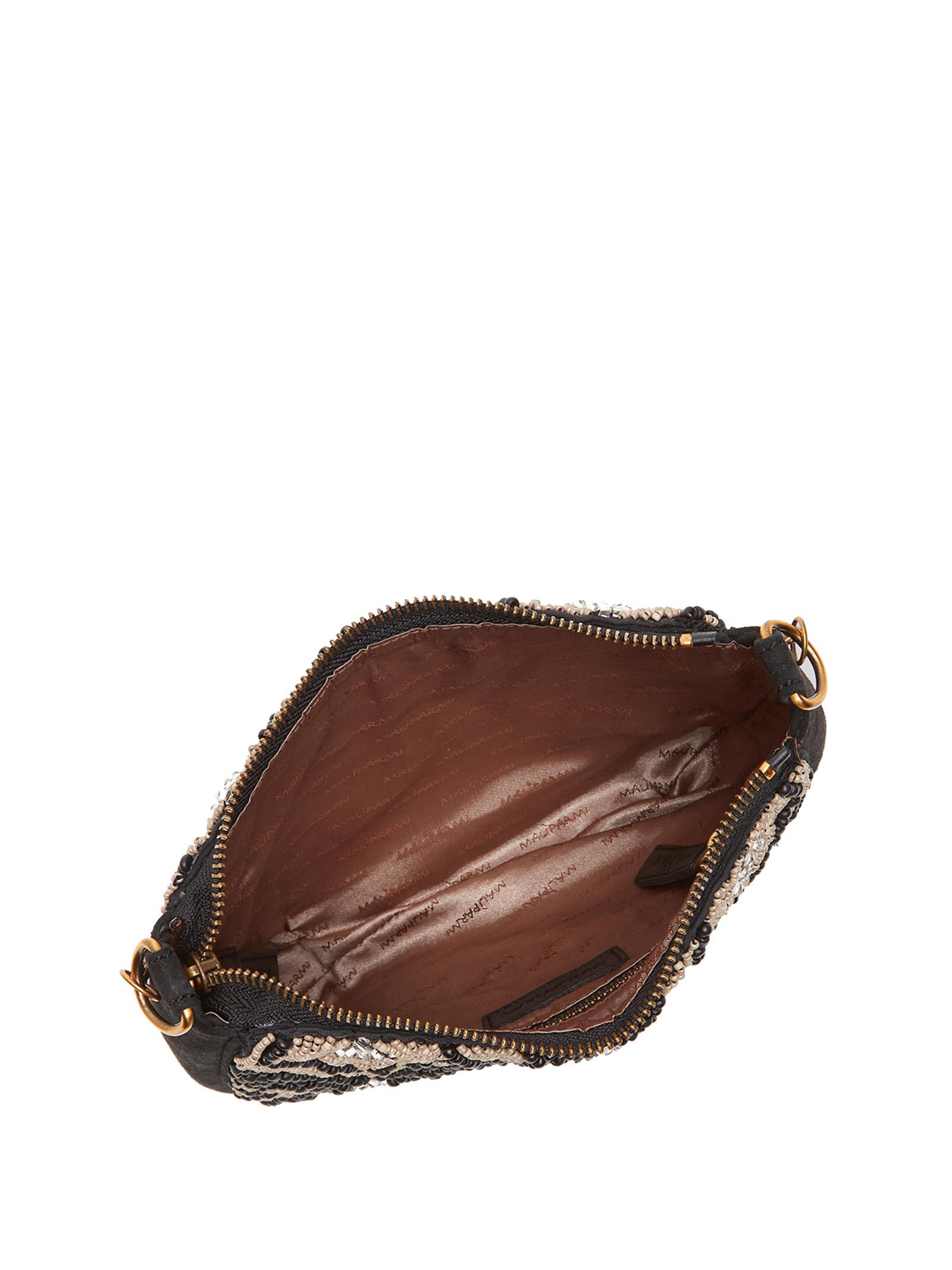 Borsa Donna Pochette Winter Beads in Camoscio Nero con Perline e Tracolla a Catena Oro Maliparmi | Borse e zaini | BQ00419079720B99