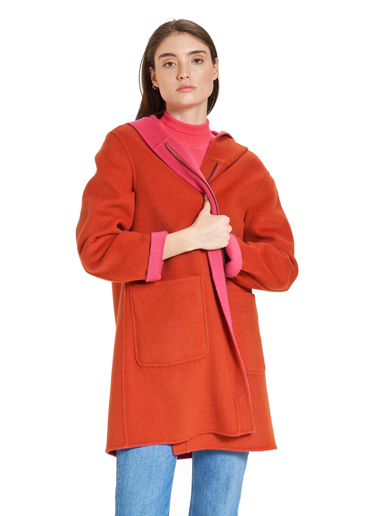 Abbigliamento Donna Cappotto Lungo Double Face in Arancio e Fuxia con Cappucio Maliparmi | Cappotti | JA52572027631B34