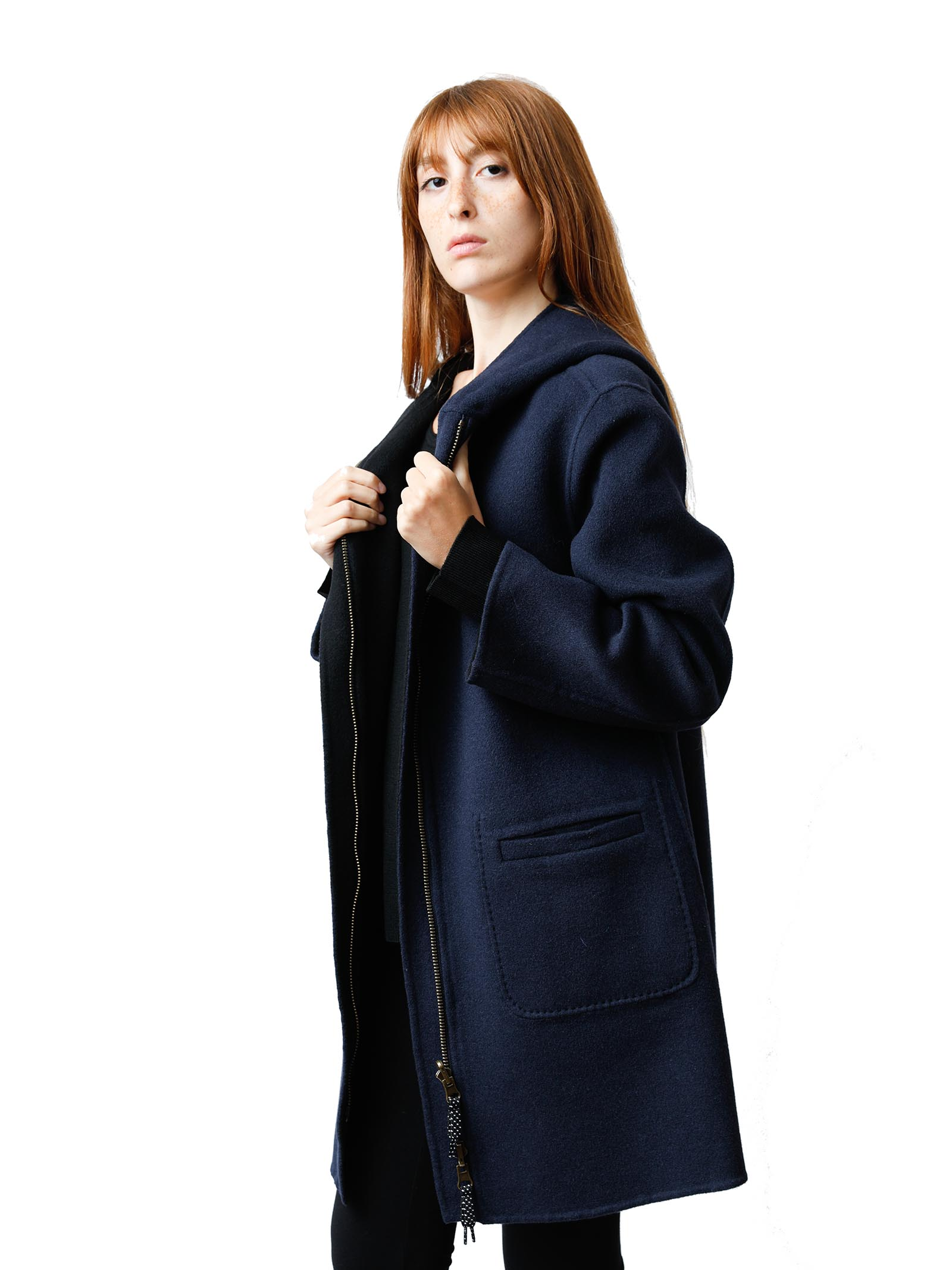 Women's Clothing Long Double Face Coat in Black and Blue with Hood Maliparmi   Coats and jackets   JA52572027680B20