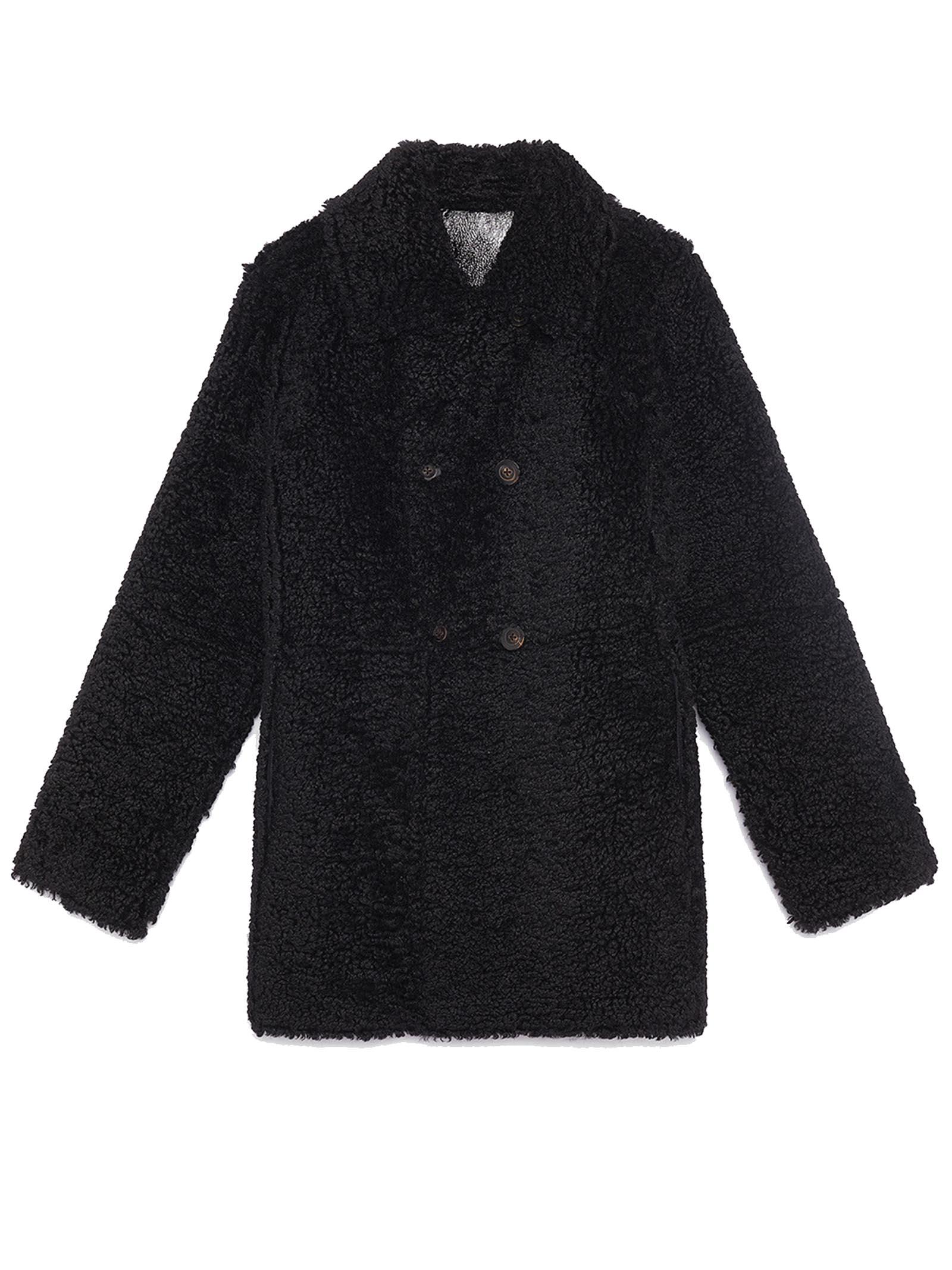 Abbigliamento Donna Giaccone Doppiopetto Ram-Look Reversibile in Eco-montone Nero con Bottoni Gioiello Maliparmi   Cappotti   JA52585056320000