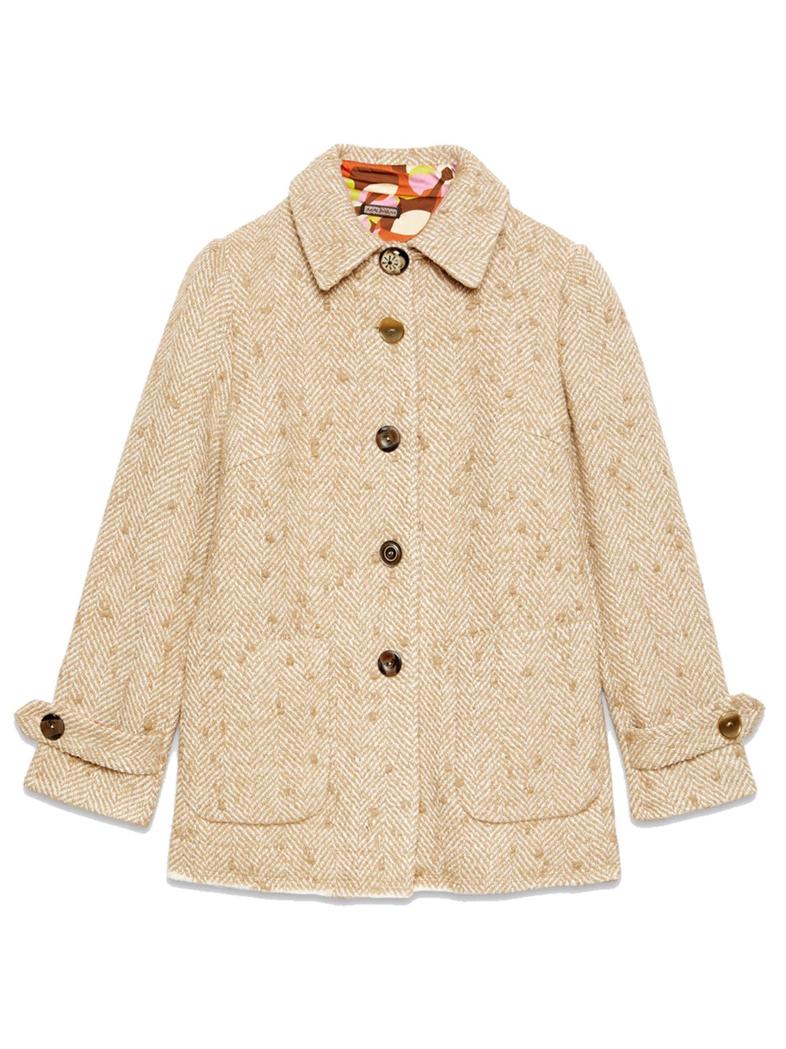Women's Clothing Single-breasted Herringbone Jacket in Beige Wool and Jewel Buttons Maliparmi | Coats and jackets | JA52632019212B10