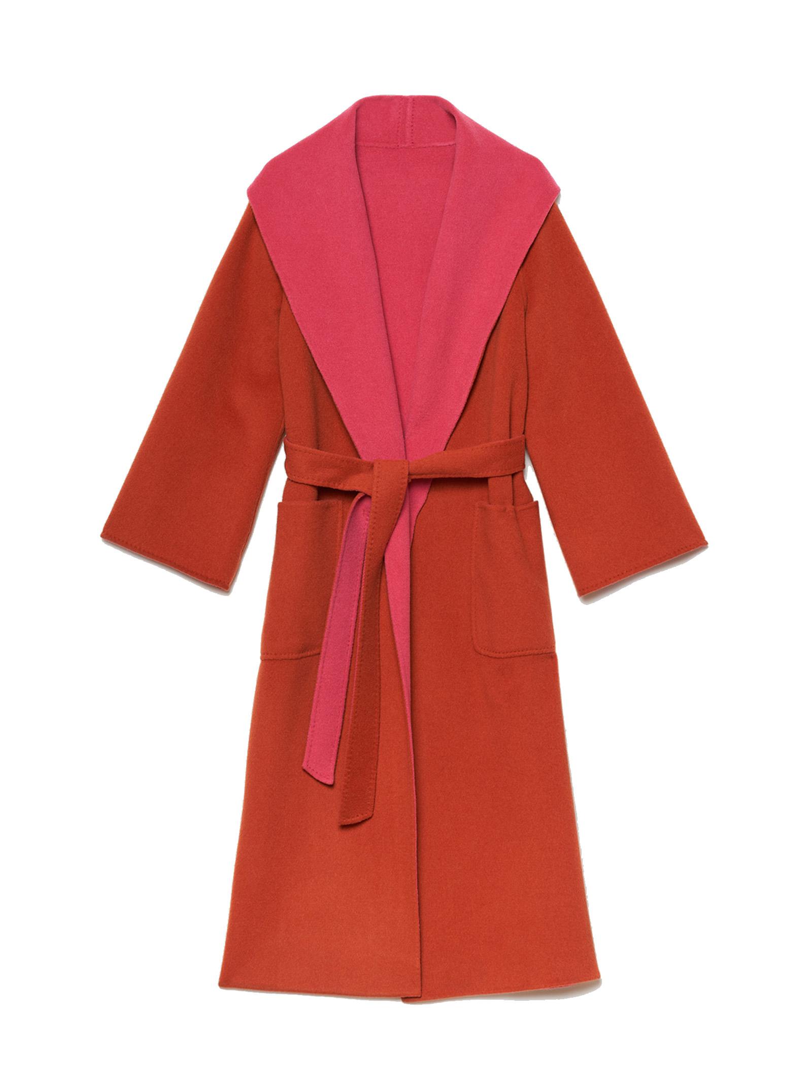 Women's Clothing Double Coat in Orange and Fuchsia Wool with Belt Maliparmi   Coats and jackets   JB53262027631B34