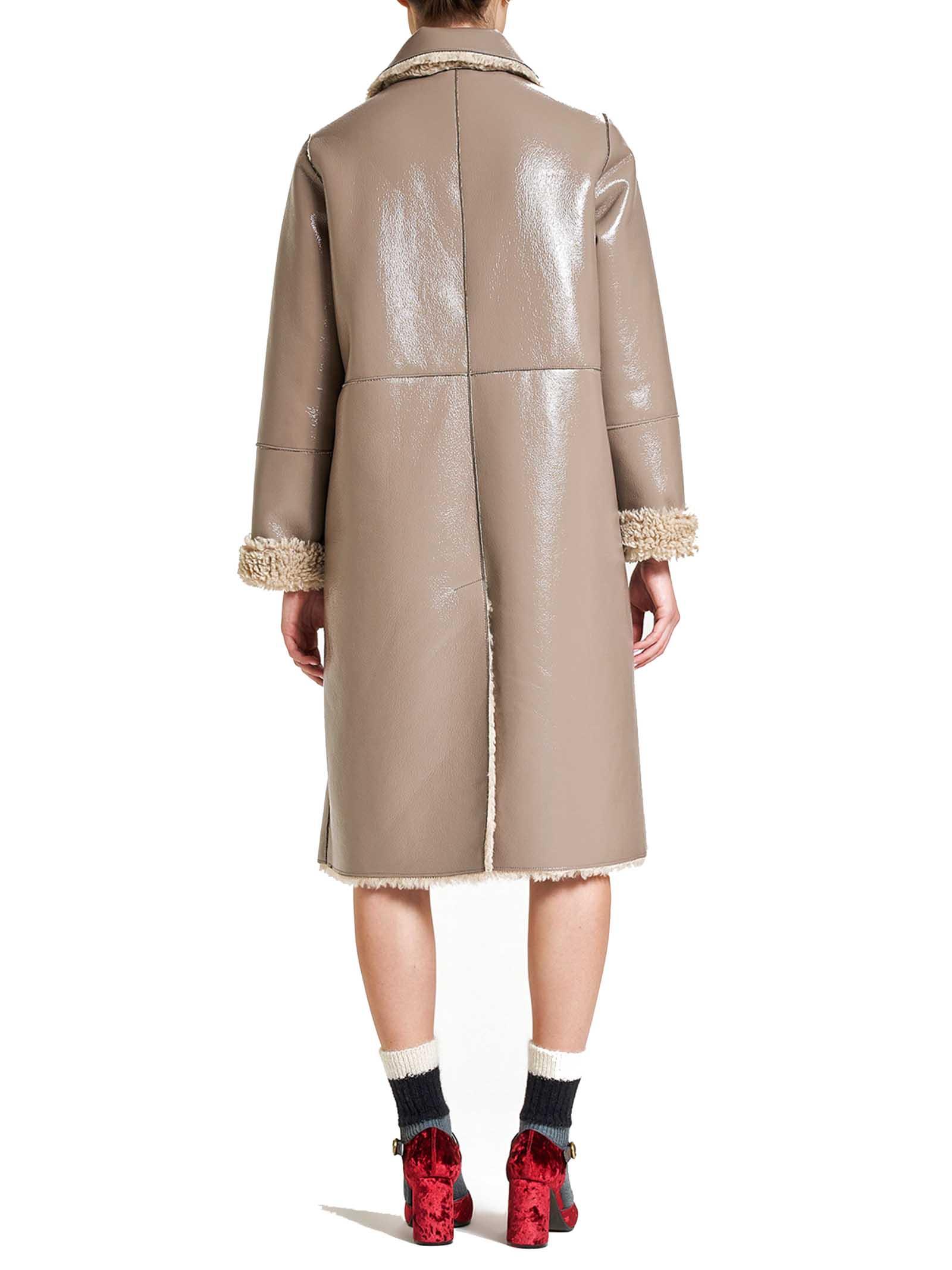Abbigliamento Donna Cappotto Monopetto Ram Look Reversibile Beige e Panna Maliparmi | Cappotti e Giacche | JB53315056312007