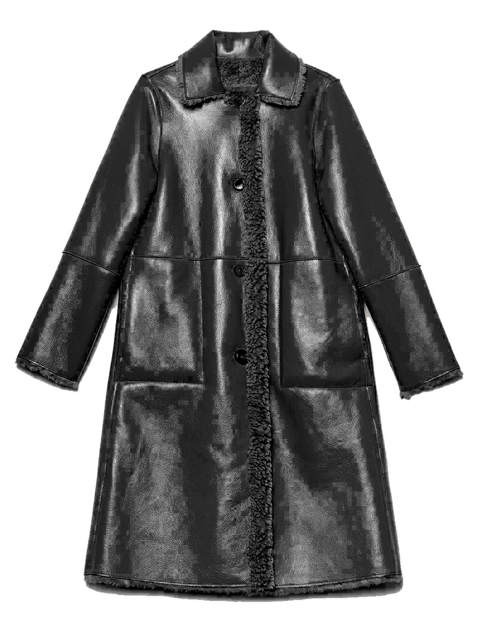 Abbigliamento Donna Cappotto Monopetto Ram Look Reversibile Nero Lucido Tono su Tono Maliparmi   Cappotti e Giacche   JB53315056320000