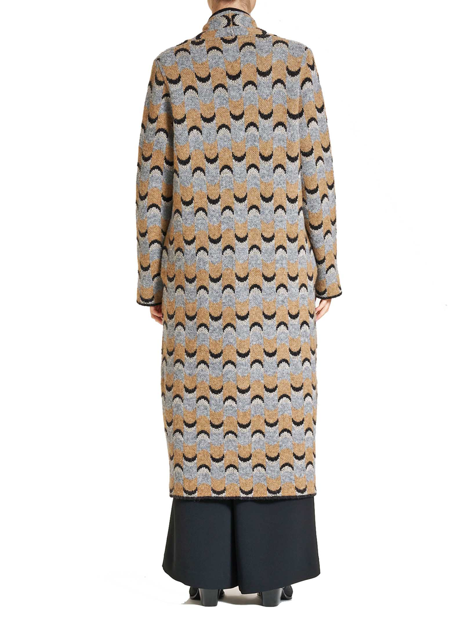 Abbigliamento Donna Cappotto Cozy in Lana Jacquard Taupe Multicolor Senza Cintura Maliparmi | Cappotti e Giacche | JB533770521B1261
