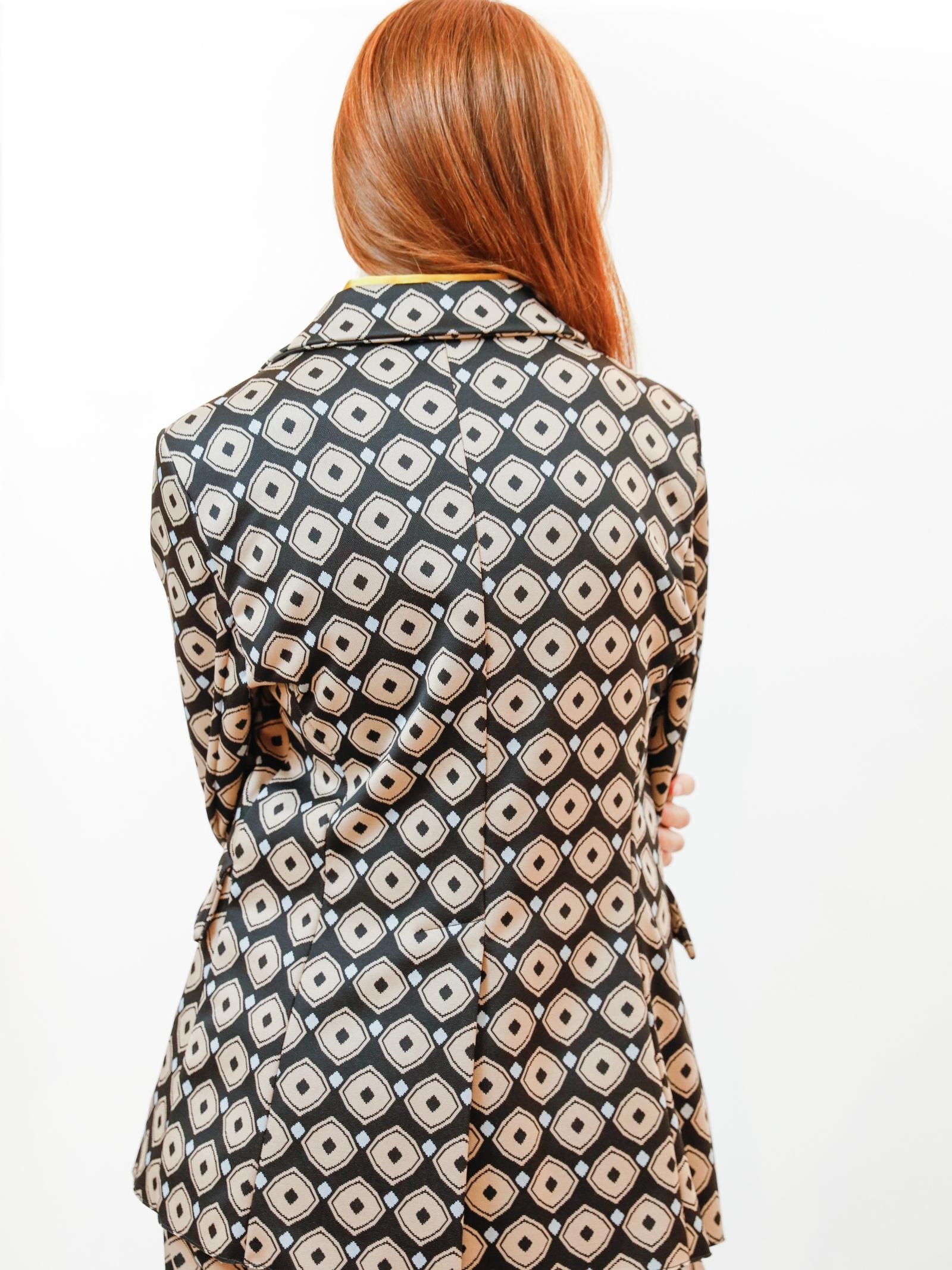 Abbigliamento Donna Giacca Monopetto Archizoom in Jacquard Stretch Nero a Fantasia Maliparmi   Giacche e giubbini   JD638060050B2027