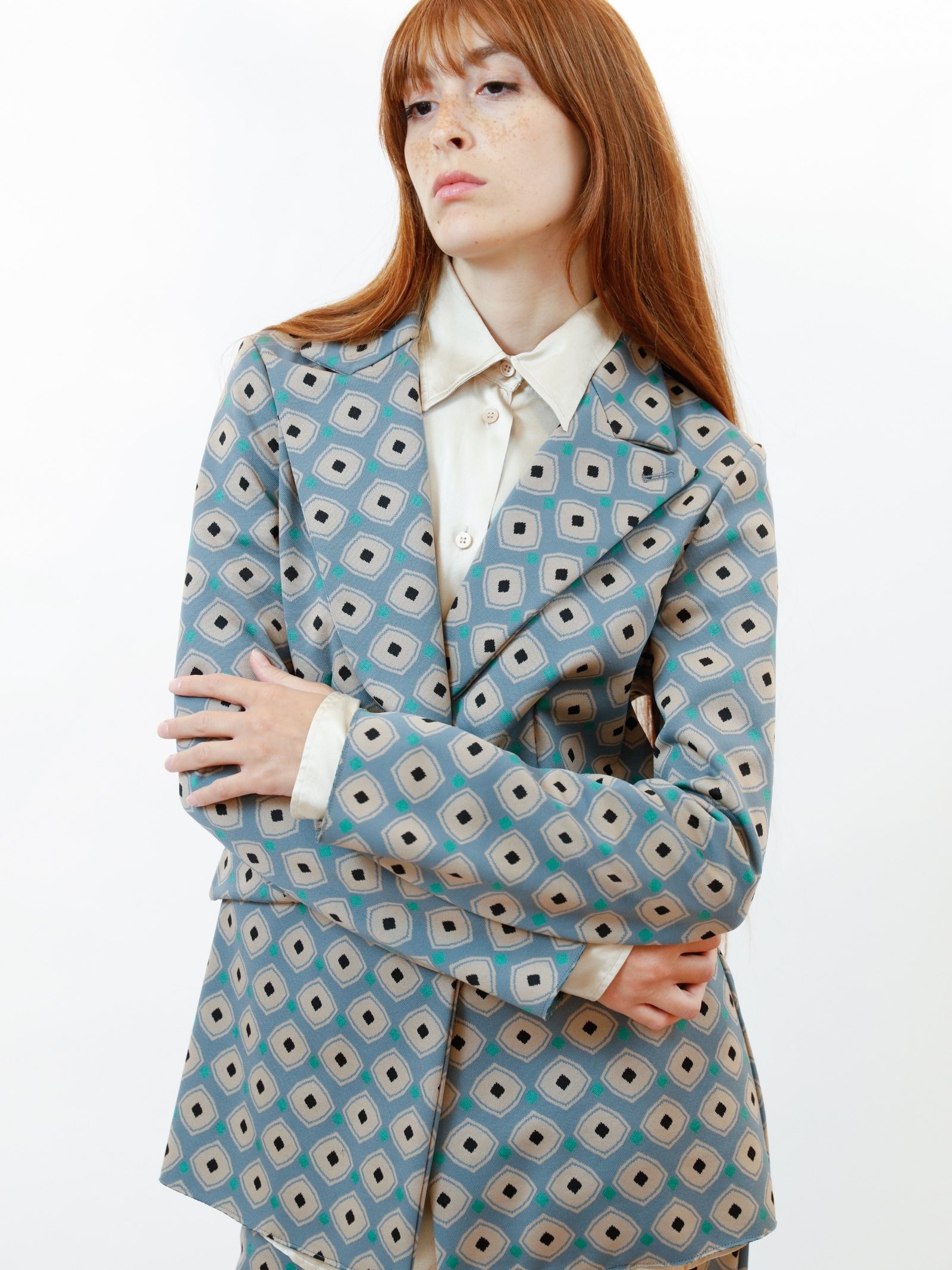 Women's Clothing Archizoom Single-breasted Jacket in Jacquard Stretch Sky Patterned Maliparmi   Jackets   JD638060050C6050