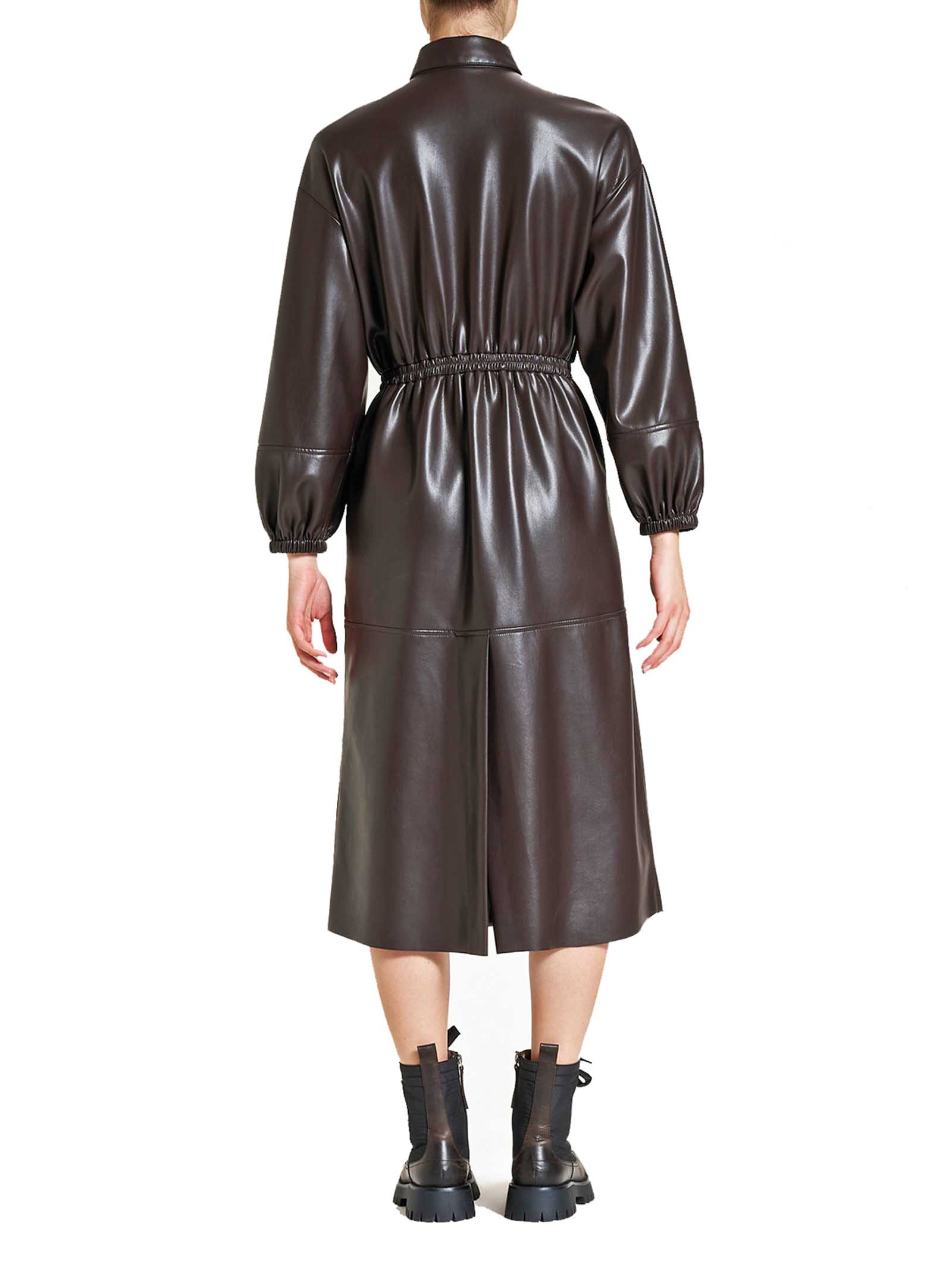 Women's Clothing Long Leather Dress in Brown Eco-Leather with Puffed Sleeves Maliparmi   Dresses   JF64625056940007
