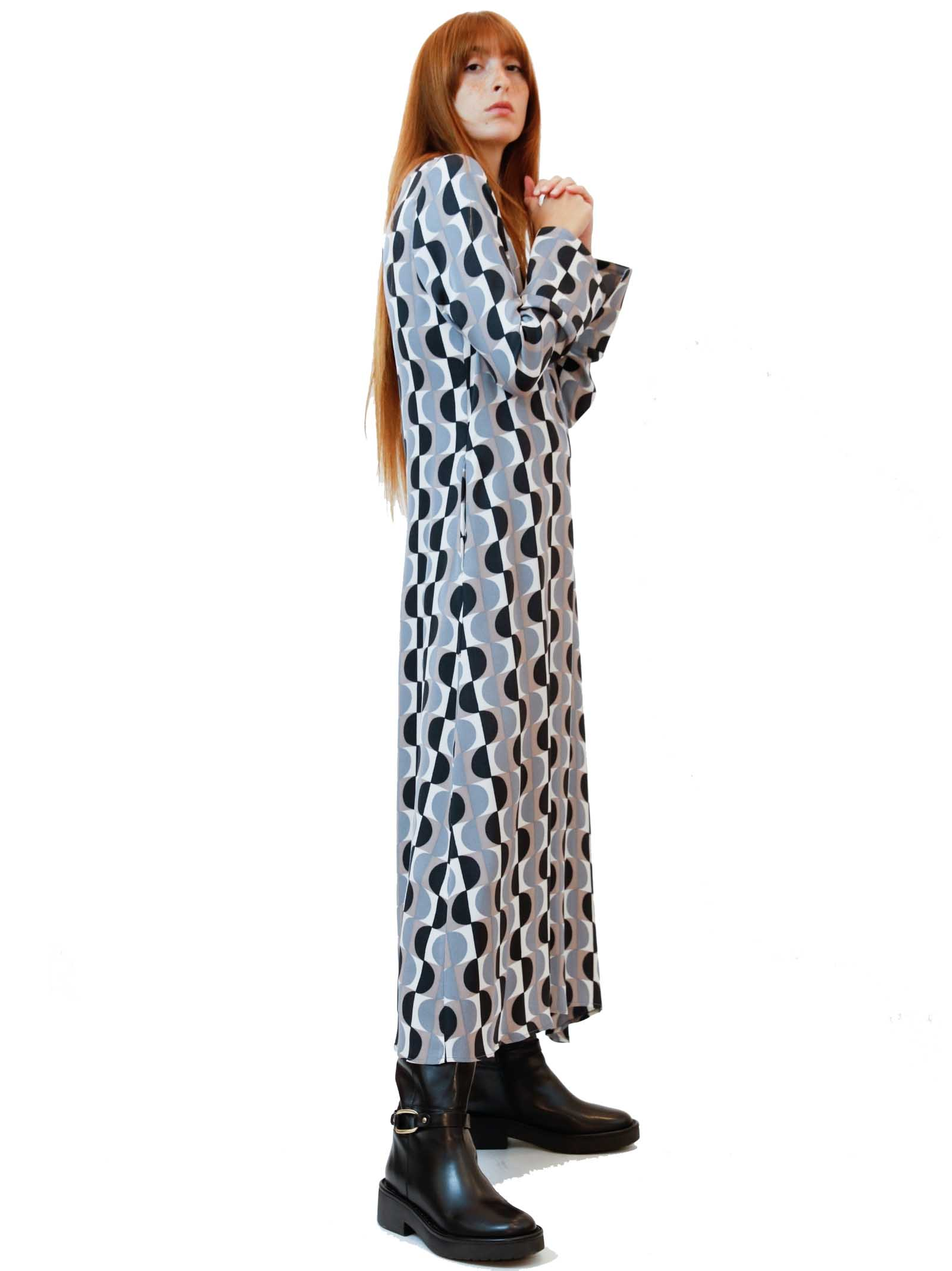 Women's Clothing Roundground Long Dress in Natural and Dark Sablè with Patterned Mother of Pearl Buttons Maliparmi | Dresses | JF646550568B1247