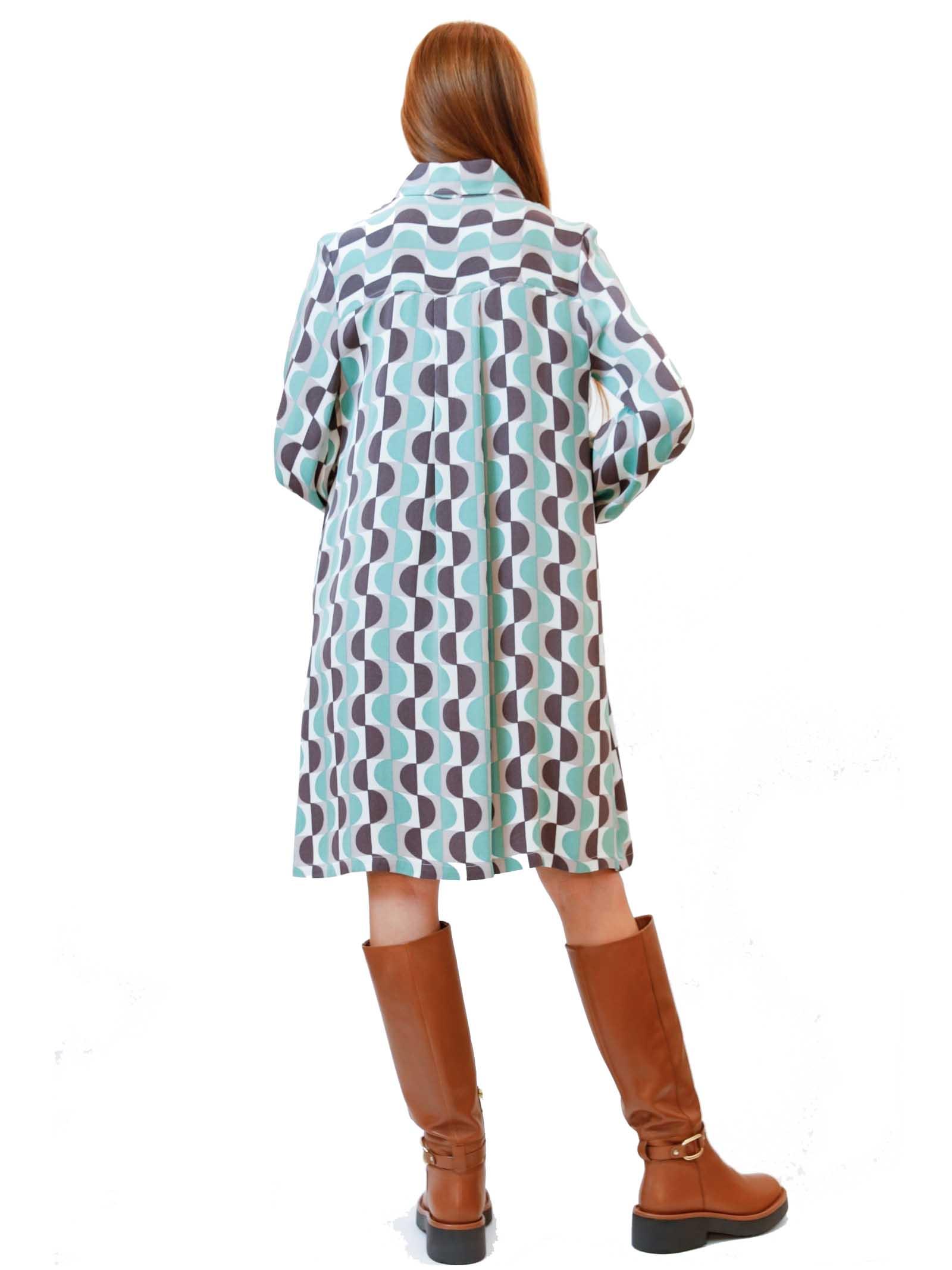 Abbigliamento Donna Abito Roundground in Sablè Verde a Fantasia e Bottoni in Madreperla Maliparmi | Abiti | JF646650568C6040