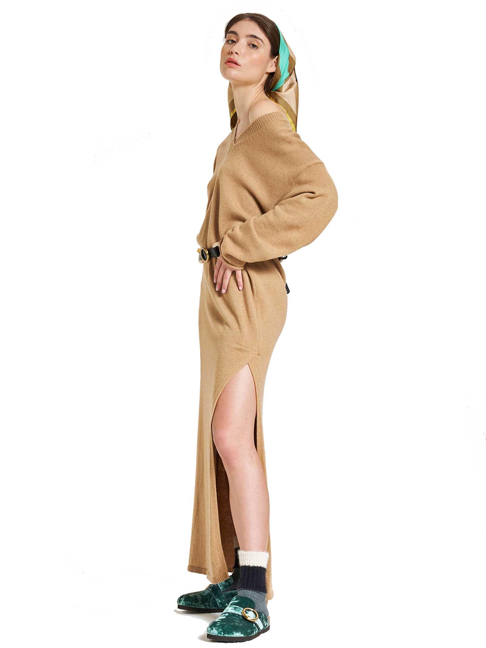 Abbigliamento Donna Abito Lungo Re-volution in Maglia di Lana Beige Scollo a V Maliparmi | Abiti | JF64737051812035