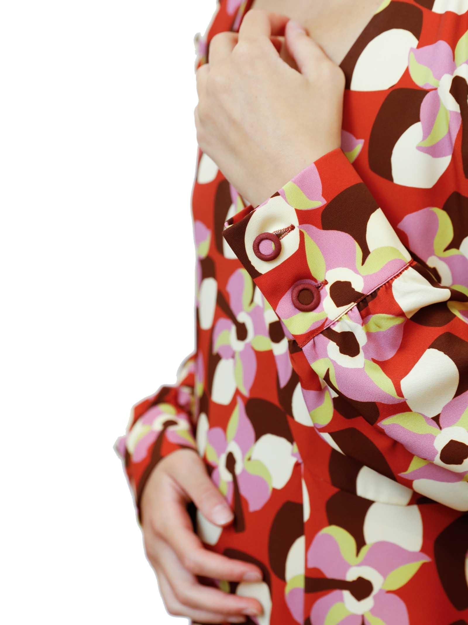 Abbigliamento Donna Abito Lungo Wallpaper Rosso a Fantasia in Twill Stretch Maliparmi | Abiti | JF648160059B3252