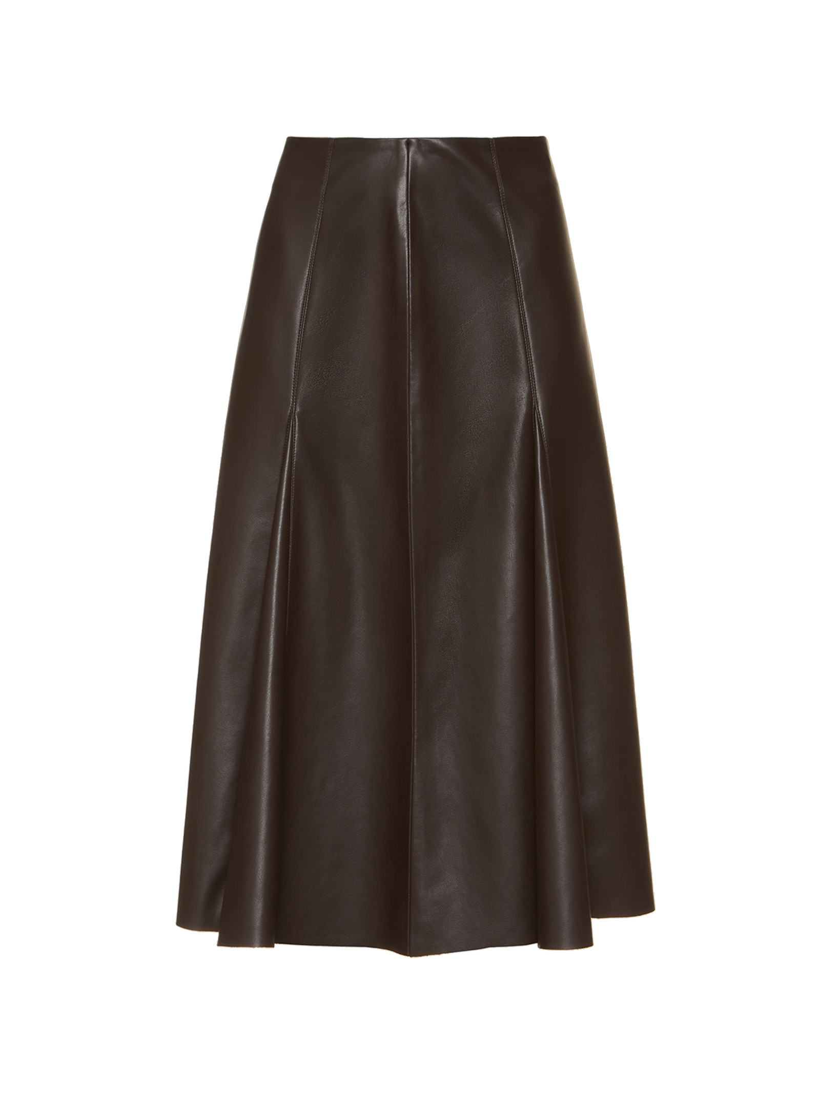 Women's Clothing Knee High Leather Skirt in Brown Eco-leather Maliparmi | Skirts and Pants | JG36275056940007