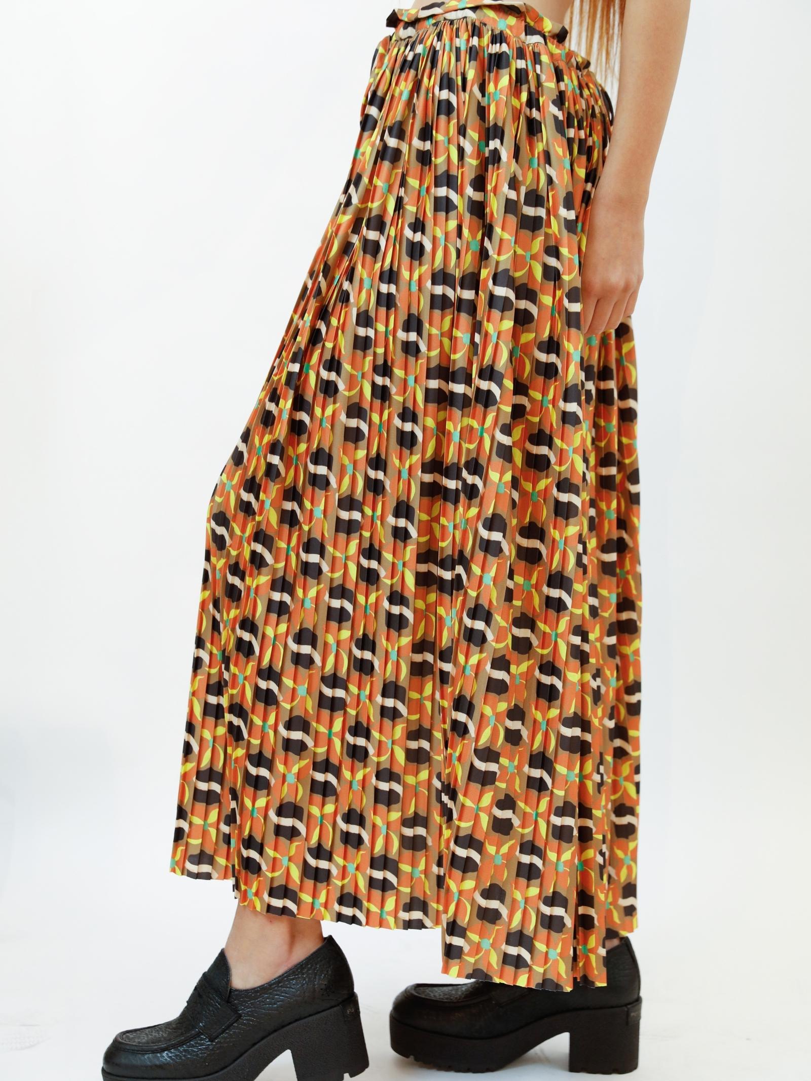 Women's Clothing Skirt Daffod in Printed Jersey Beige Patterned Drawstring Waist Maliparmi   Skirts and Pants   JG362970524B1252