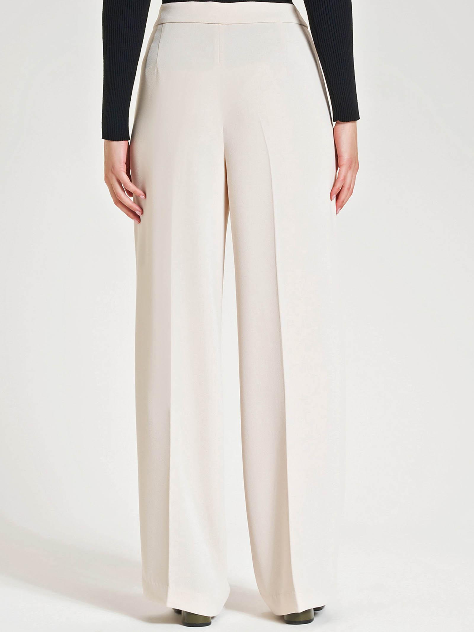 Abbigliamento Donna Pantalone Sablè in Sablè Crepe Avorio con Piega Stirata e Tasche alla Francese Maliparmi   Gonne e Pantaloni   JH73855016610003