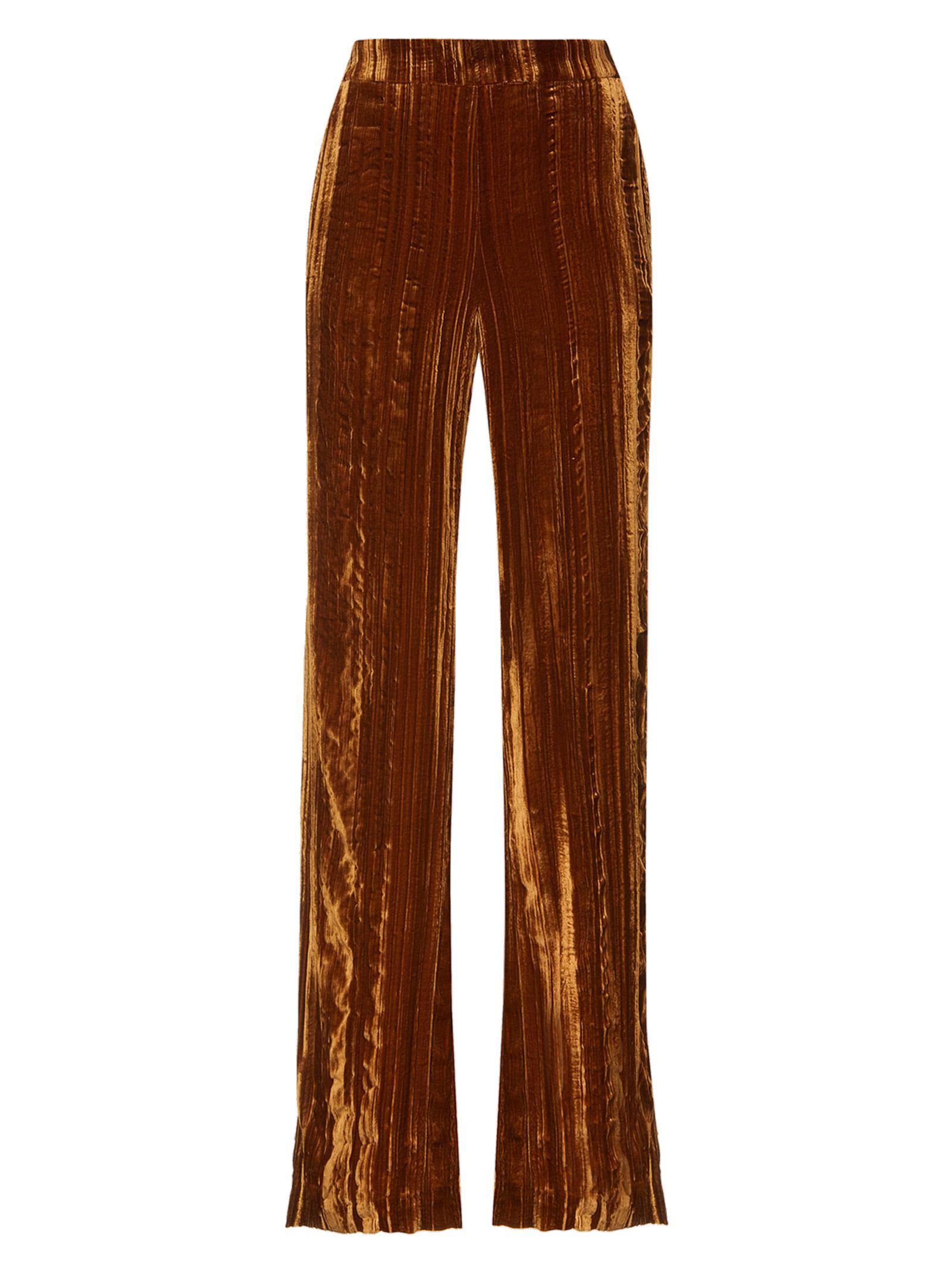 Abbigliamento Donna Pantalone Crinkle Velvet in Velluto Biscotto Froissè di Viscosa e Seta con Tasche alla Francese Maliparmi   Gonne e Pantaloni   JH73856102941004