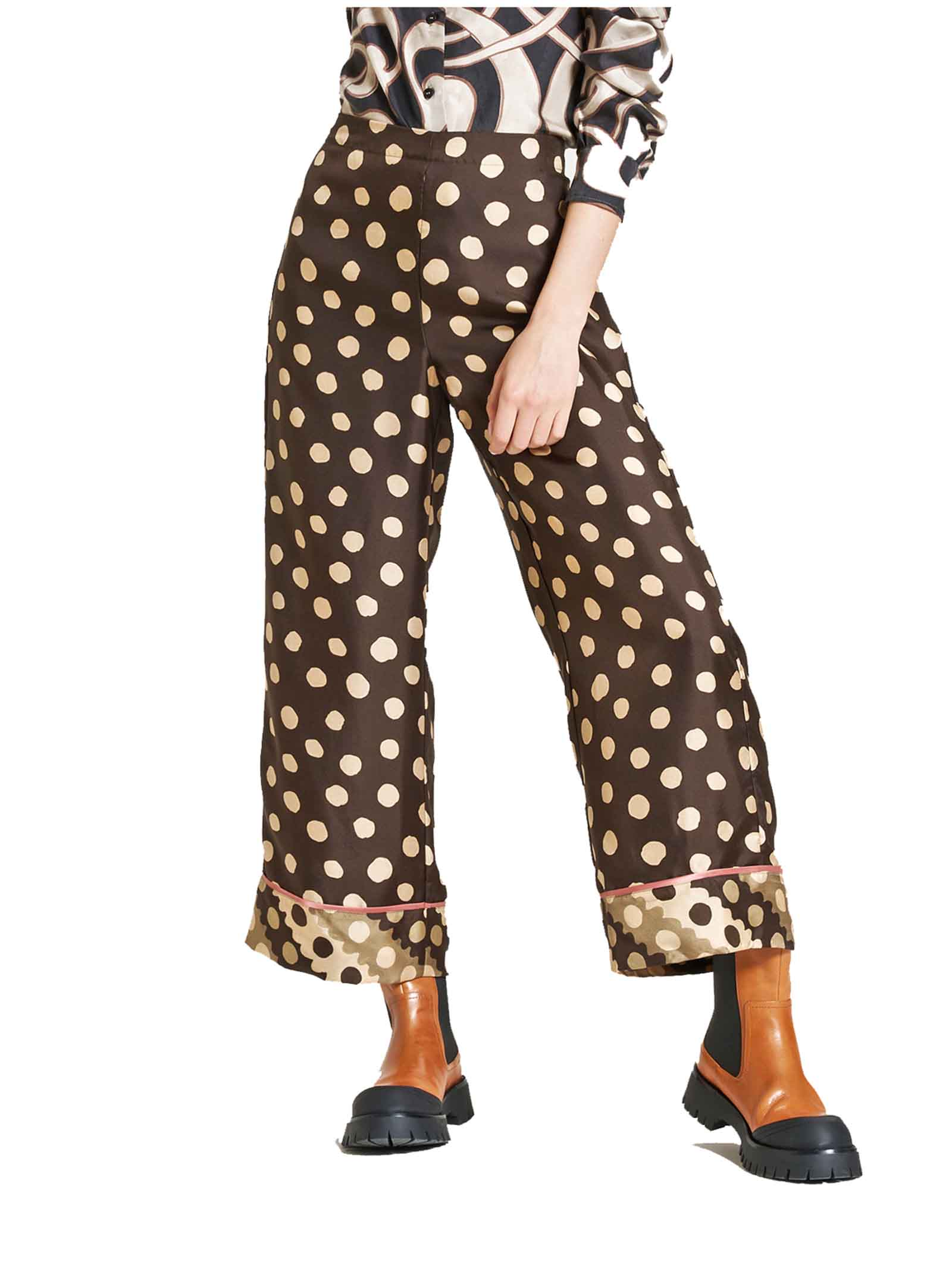 Women's Clothing Trousers Silk Twill Tale in 100% Silk Brown and Ivory Maliparmi | Skirts and Pants | JH739930112B4075