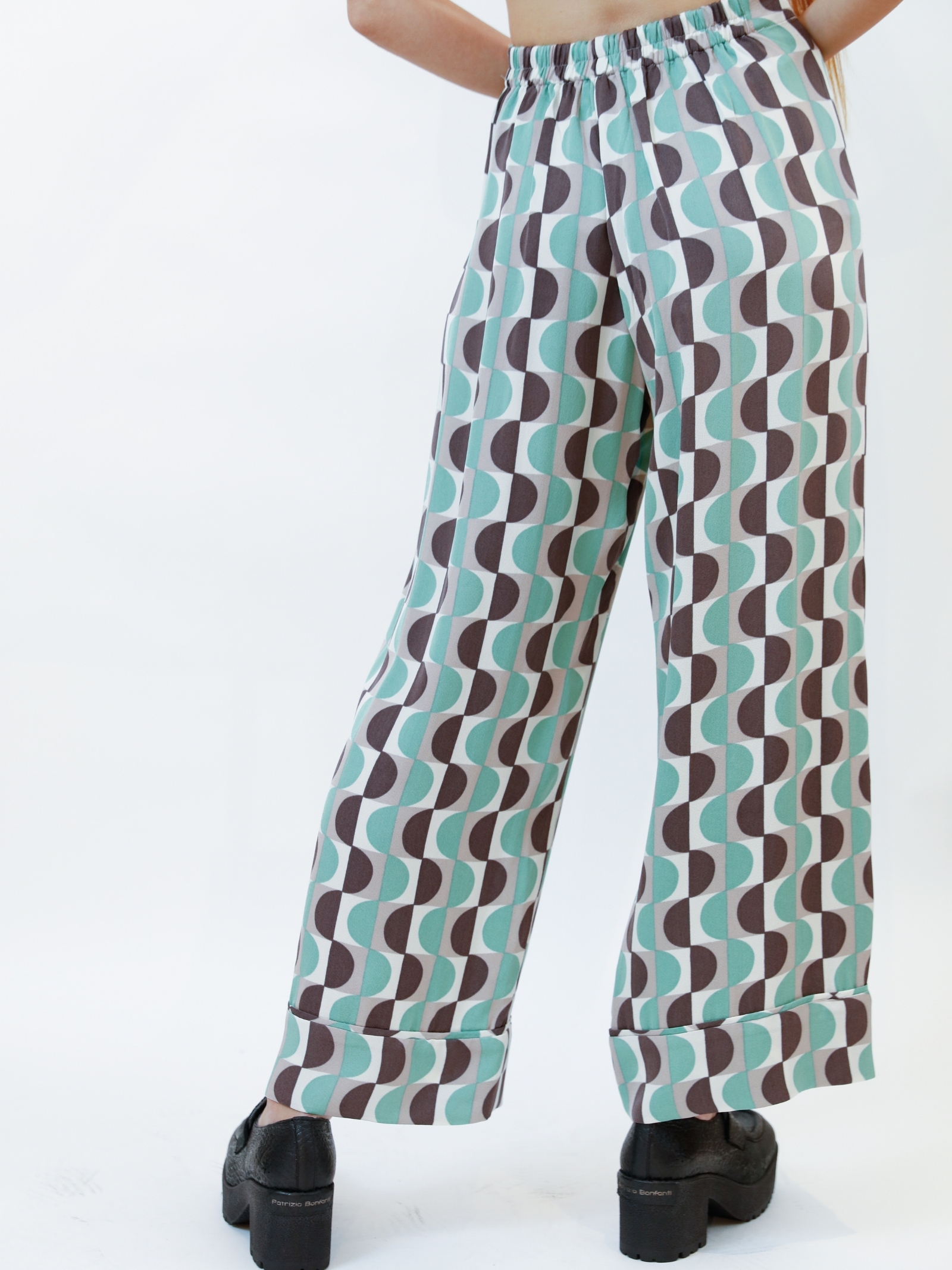 Women's Clothing Trousers Roundgr in Aqua Green Printed Sablè with Flounce at the Bottom Maliparmi | Skirts and Pants | JH739950568C6040