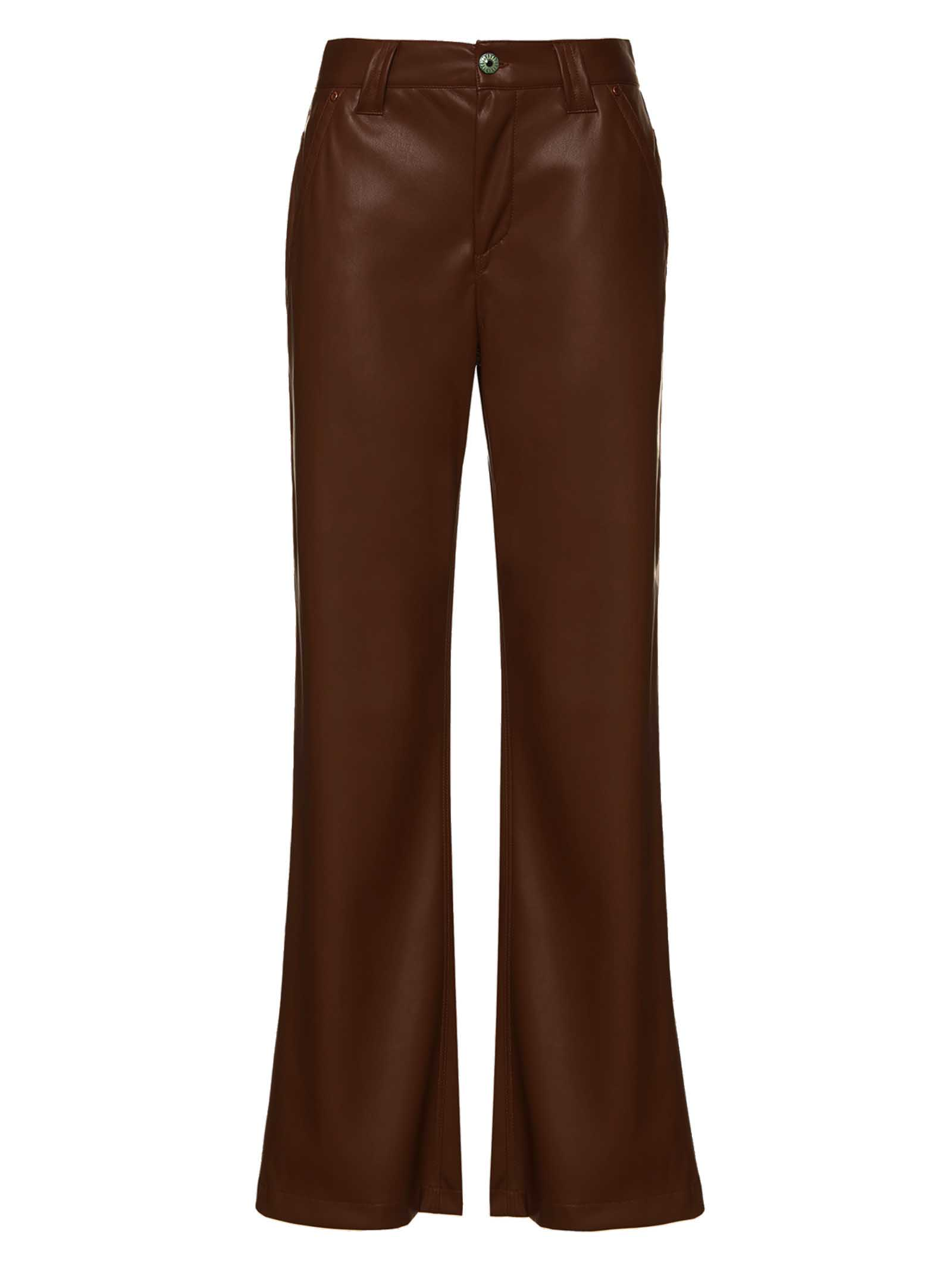 Women's Clothing Trousers Leather in Brown Eco-Leather Denim Cut and Straight Leg Maliparmi | Skirts and Pants | JH74615056940007