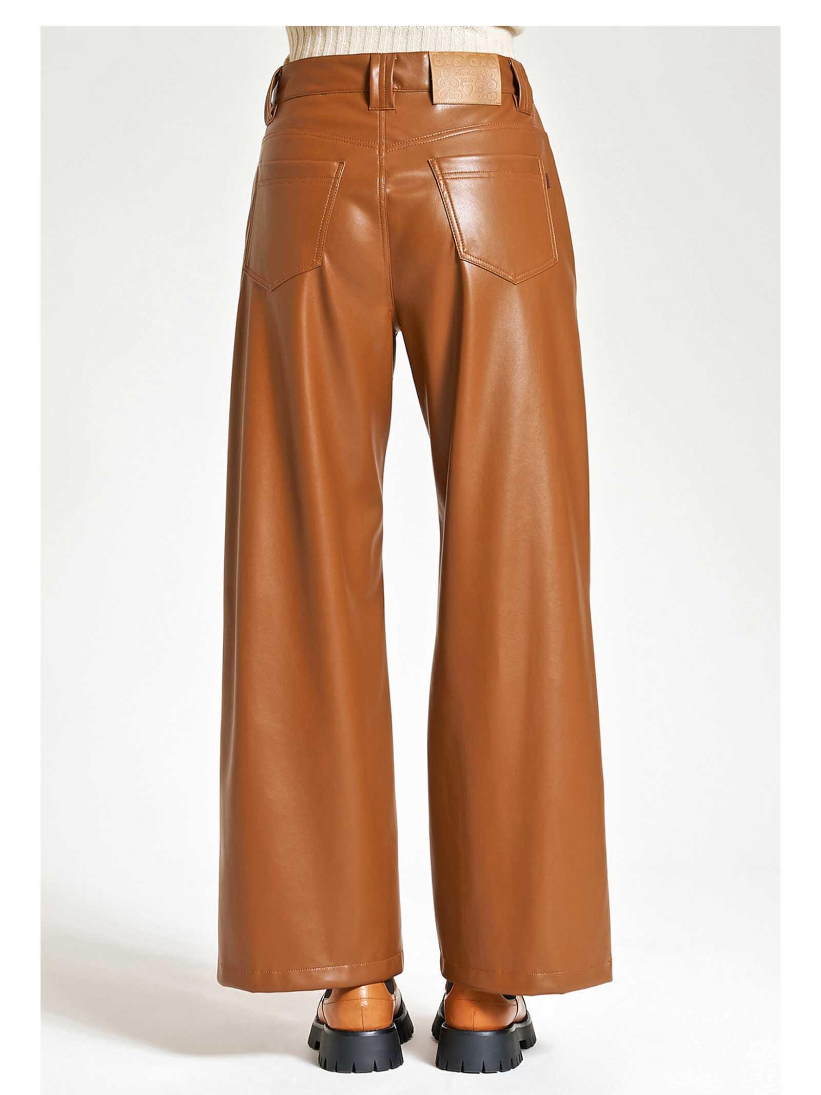 Abbigliamento Donna Pantaloni Leather in Ecopelle Cuoio Taglio Denim a Gamba Dritta Maliparmi   Gonne e Pantaloni   JH74615056941008