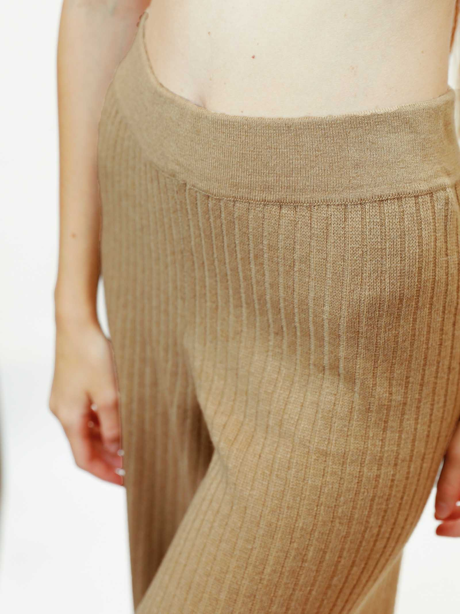 Women's Clothing Trousers Re-volution in Beige Wool Blend with Elastic Waistband Maliparmi | Skirts and Pants | JH74707051812035
