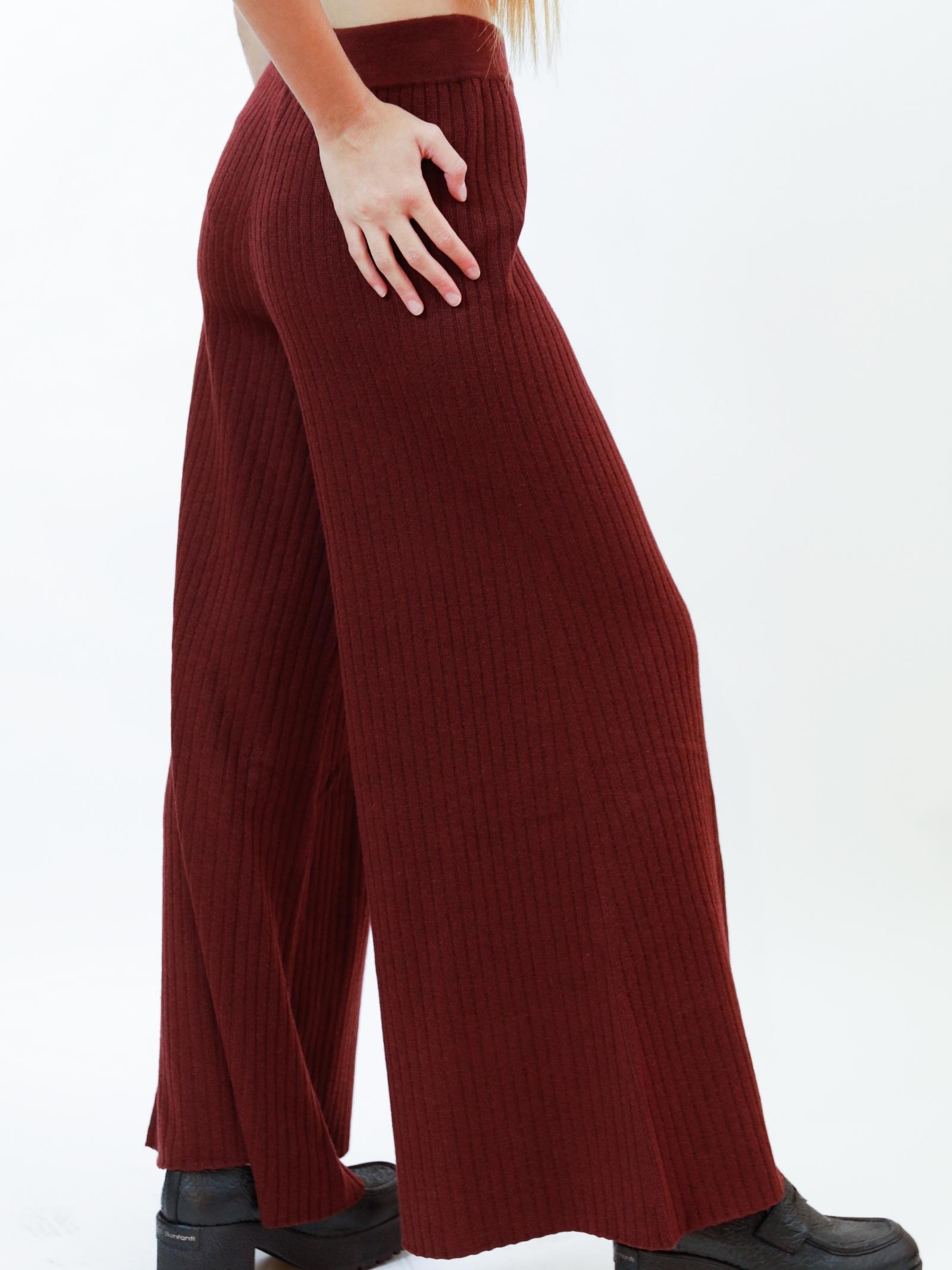 Abbiggliamento Donna Pantaloni Re-volution in Misto Lana Bordeaux con Elastico in Vita Maliparmi | Gonne e Pantaloni | JH74707051833010