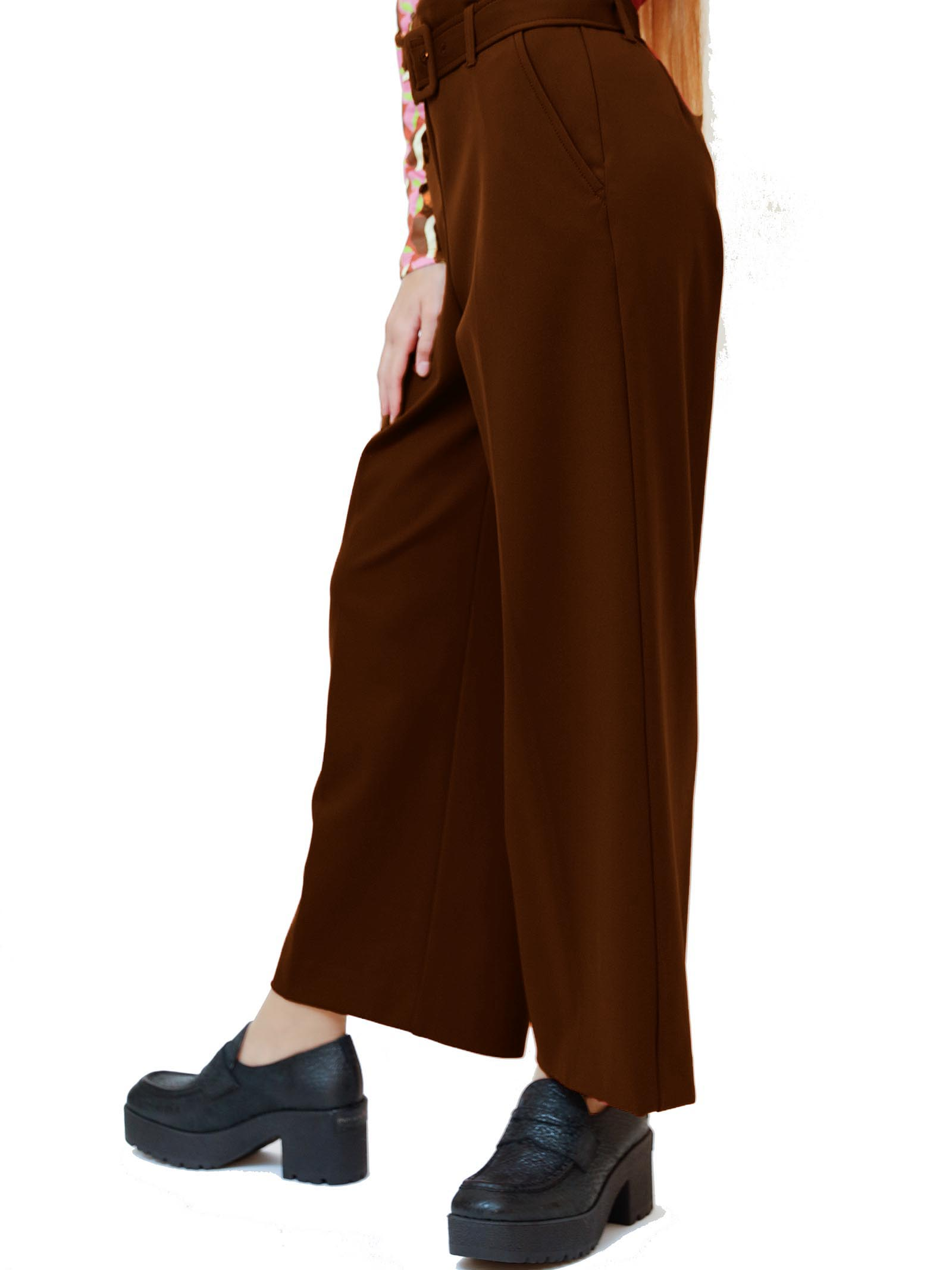 Women's Clothing Pants Techno in Tan Stretch with Belt in Tone Maliparmi   Skirts and Pants   JH74766005741009