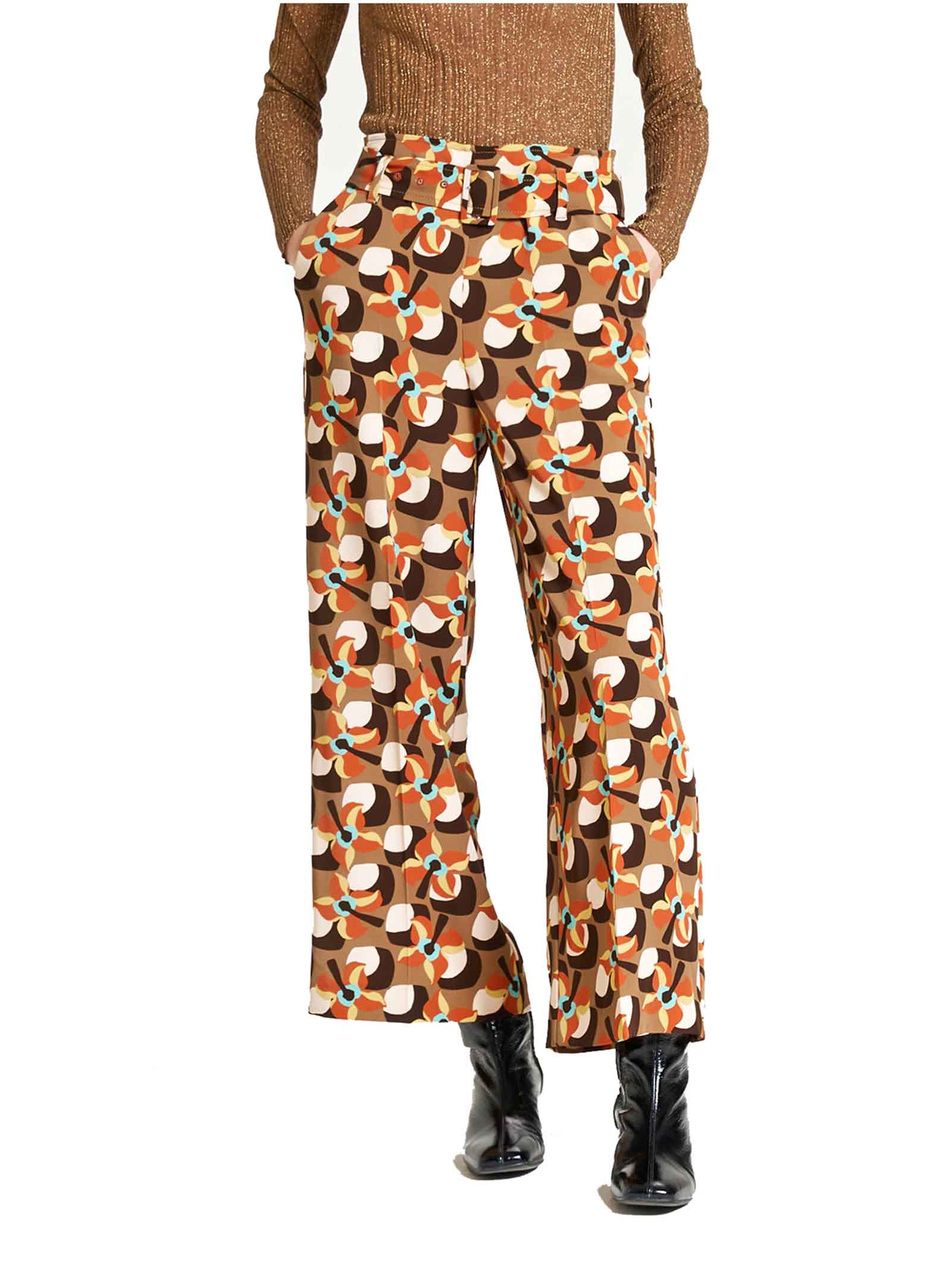 Women's Clothing Trousers Wallpaper Flow in Beige Twill with Pattern Wide at the Bottom of the Leg Maliparmi   Skirts and Pants   JH747660059B1253