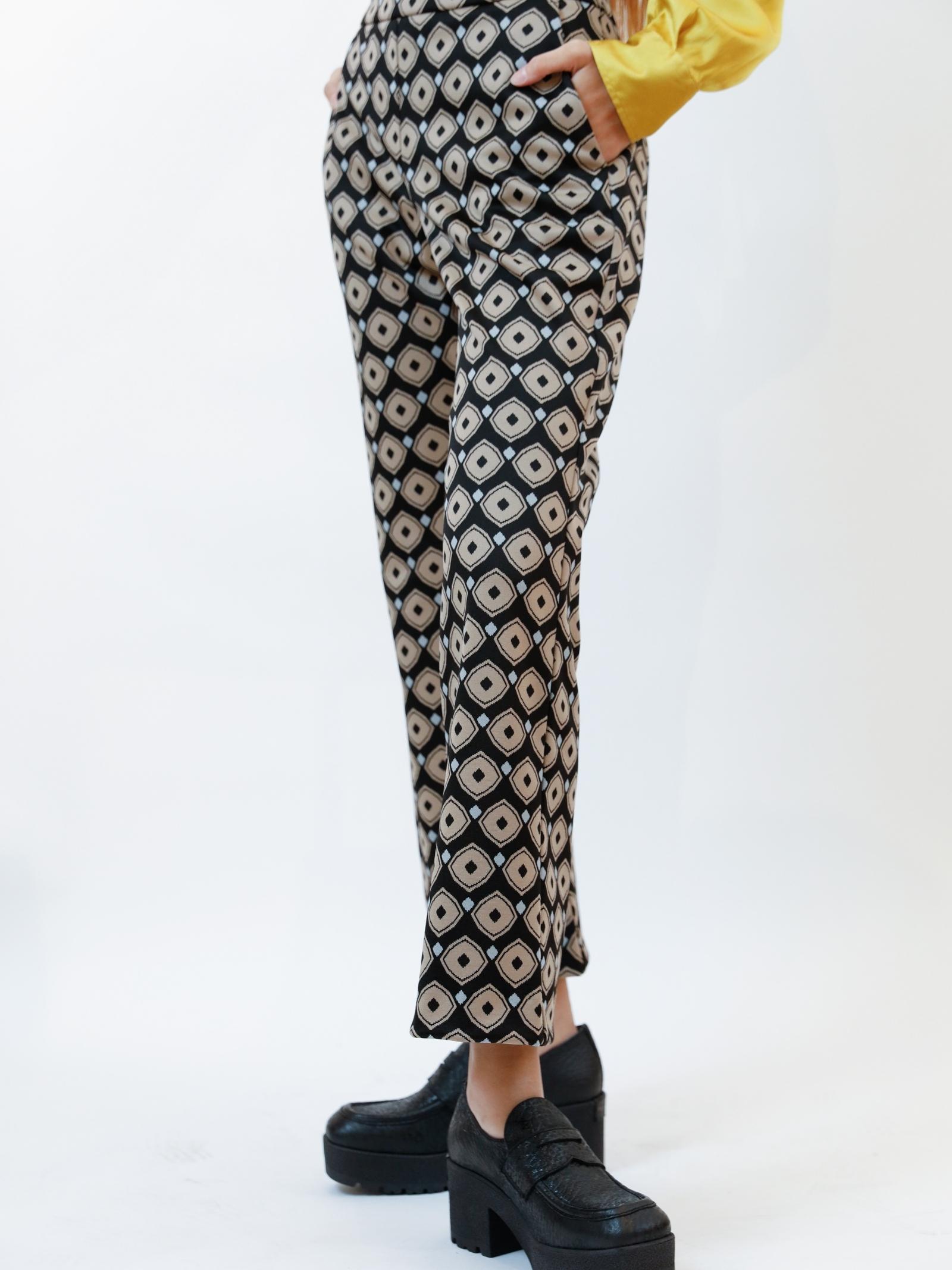 Women's Archizo Jersey Jacquard Stretch Black Patterned Trousers Maliparmi   Skirts and Pants   JH747960050B2027
