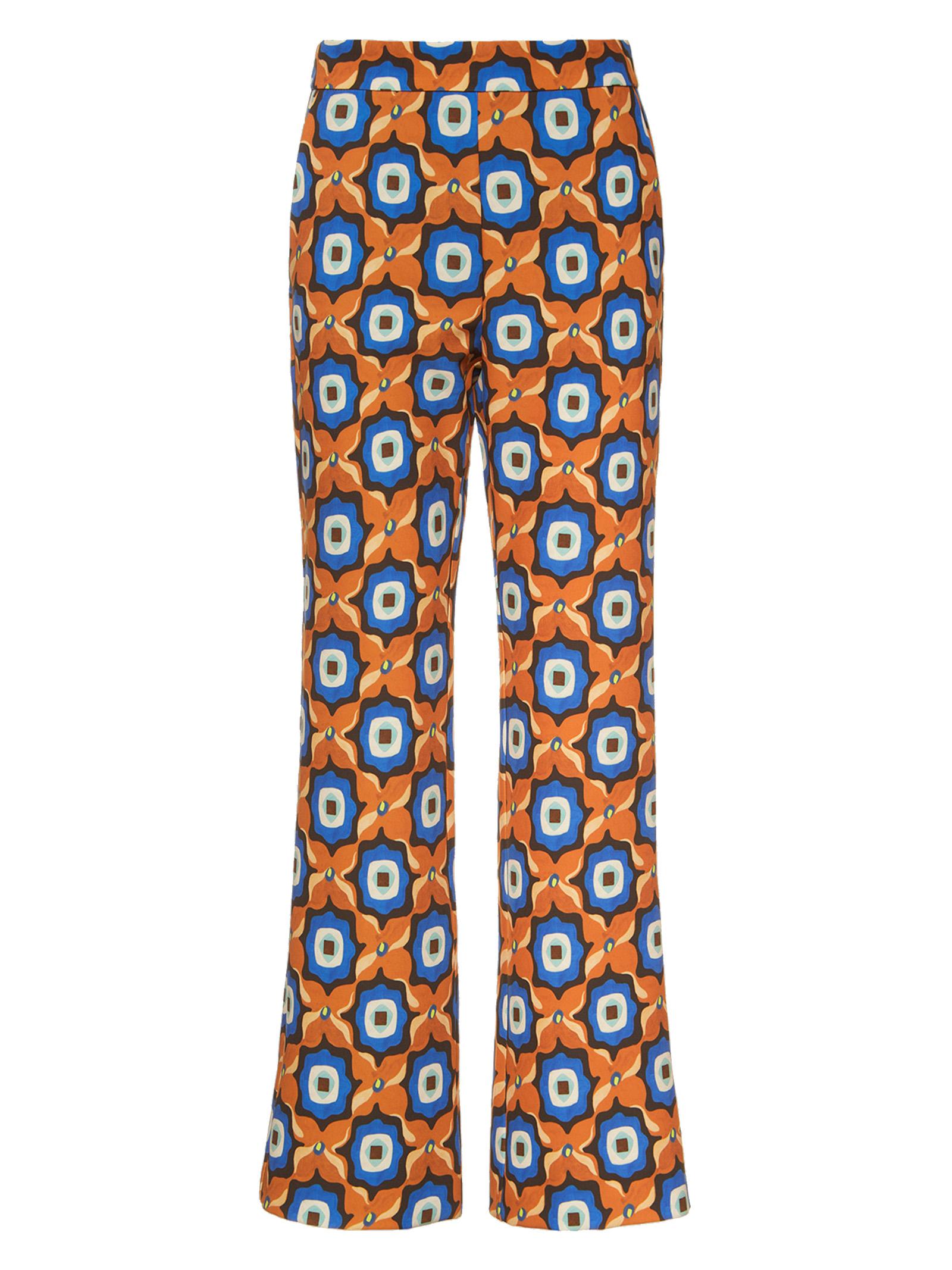 Abbigliamento Donna Pantalone Alchimia Print Cady Cuoio e Cobalto Maliparmi | Gonne e Pantaloni | JH747960058A4131