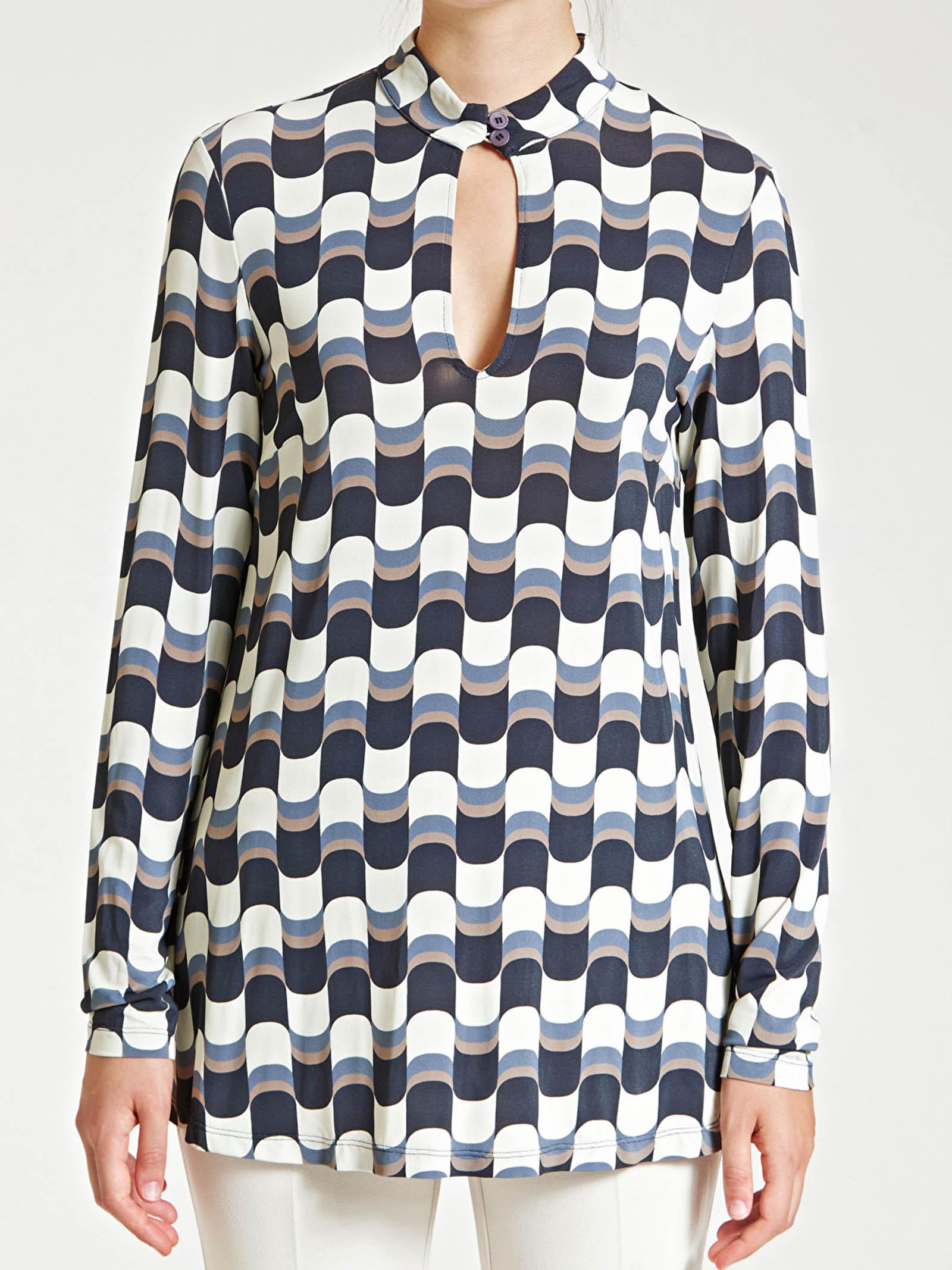Abbigliamento Donna T-Shirt Superwave in Jersey Nero e Beige Stampato Collo a Fascetta Maliparmi | Maglieria | JK020970512B1245
