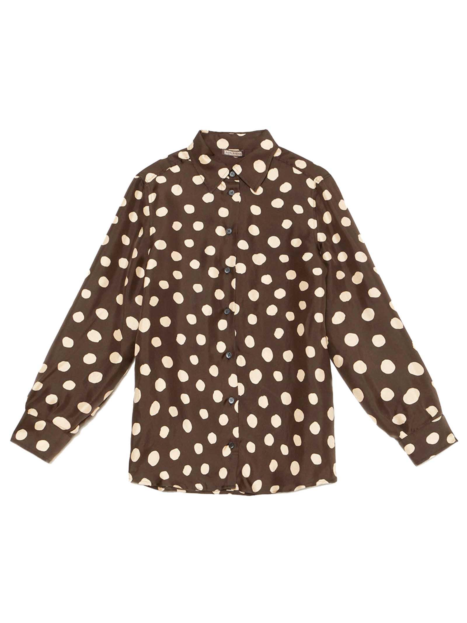 Abbigliamento Donna Camicia Silk Twill Tale in Seta Marrone e Avorio a Maniche Lunghe Maliparmi | Camicie e Top | JM214430112B4075