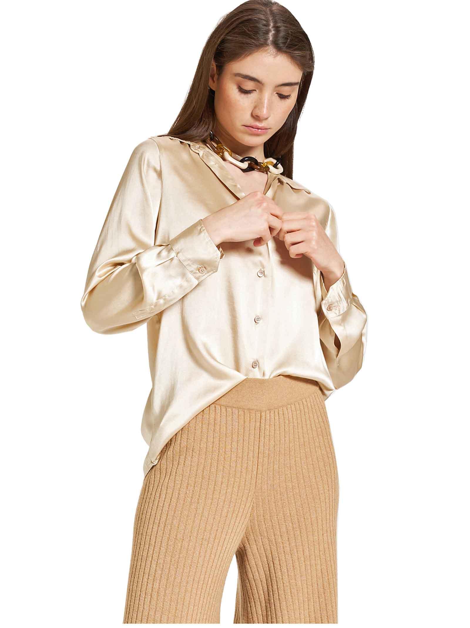 Abbigliamento Donna Camicia Silk Satin in Pura Seta 100% Beige Maniche Lunghe Maliparmi | Camicie e Top | JM21443102011010