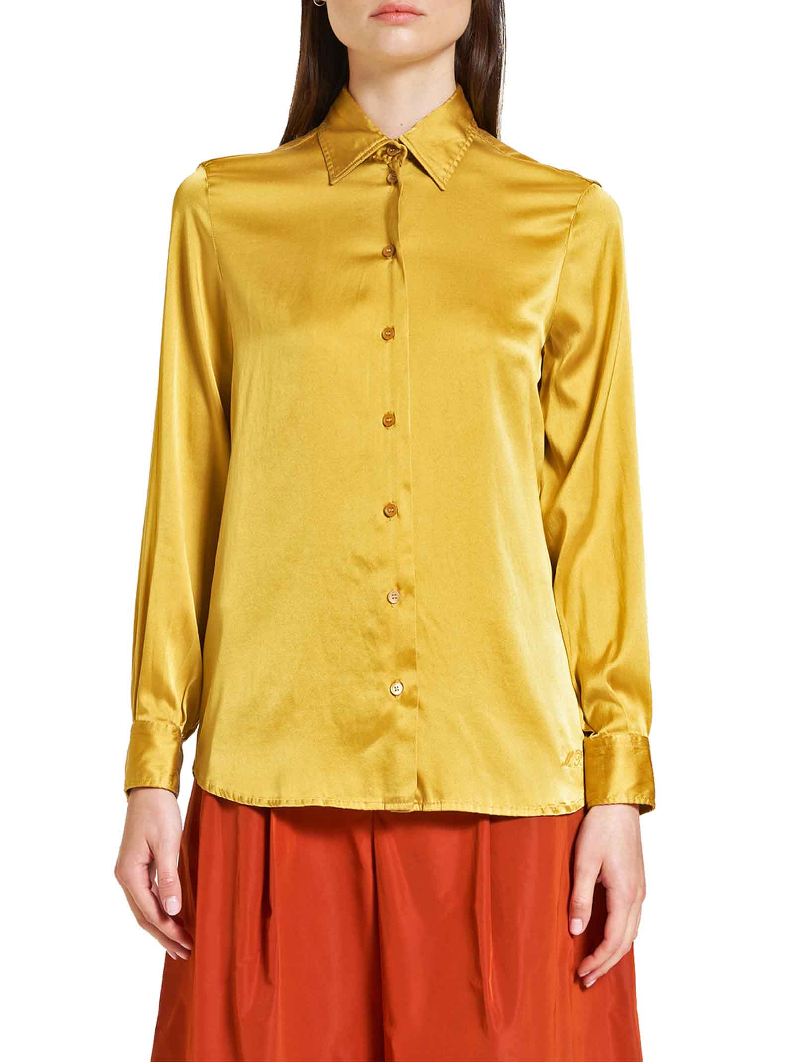 Women's Clothing 100% Pure Silk Satin Shirt Mustard Long Sleeves Maliparmi   Shirts and tops   JM21443102070013