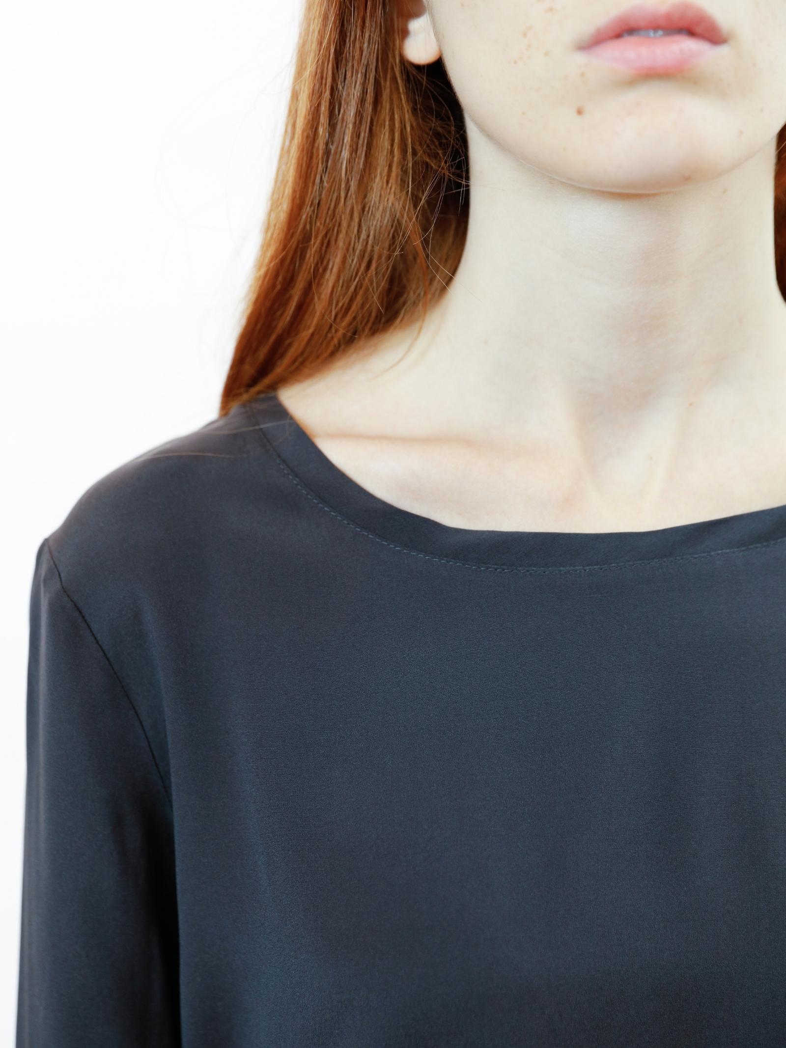 Women's Clothing Silk Satin Crew Neck Shirt in Pure Grey Silk Long Sleeves Maliparmi | Shirts and tops | JM40603102021009