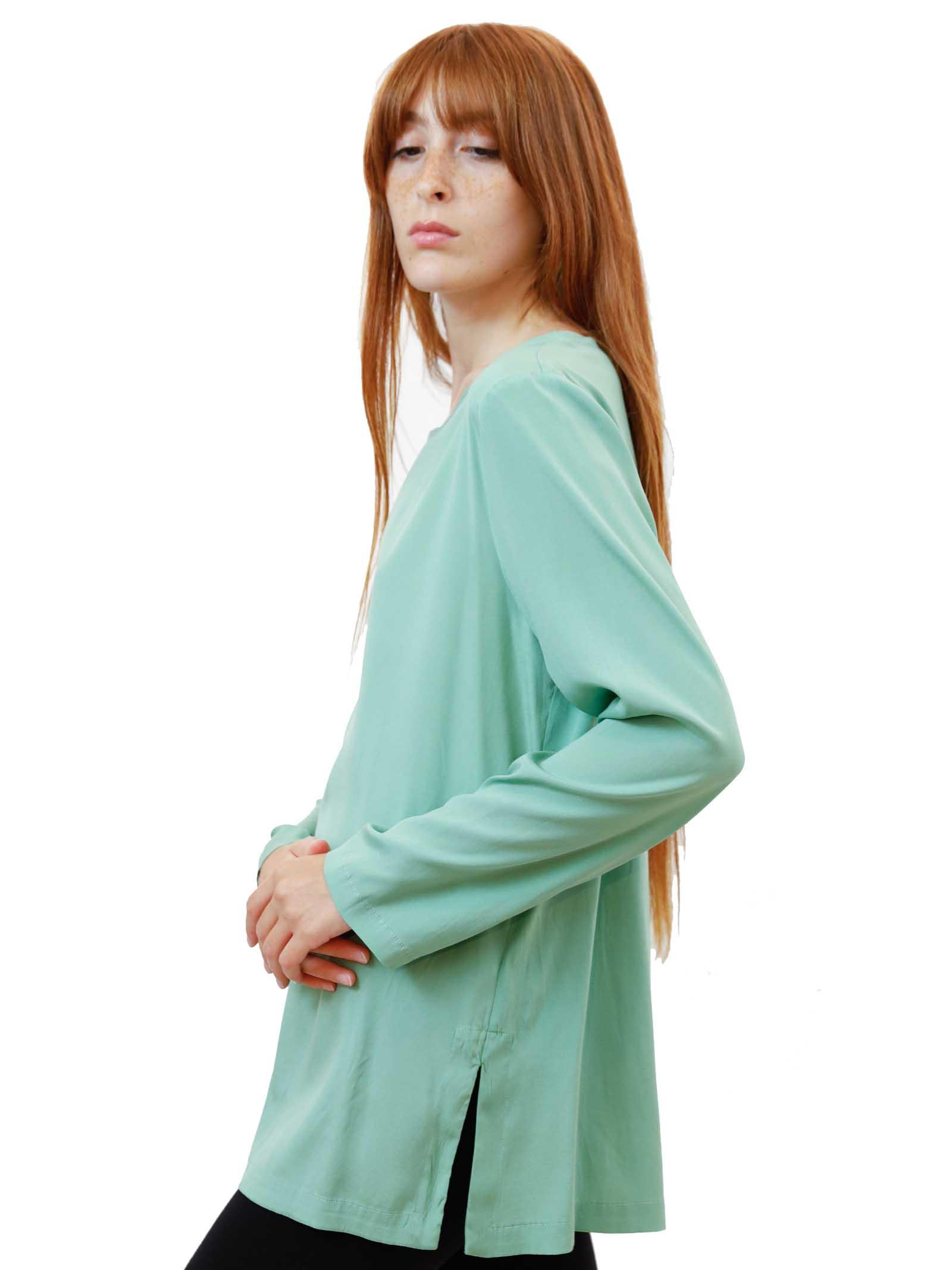 Women's Clothing Silk Satin Crew Neck Shirt in Pure Green Silk Long Sleeves Maliparmi   Shirts and tops   JM40603102060055