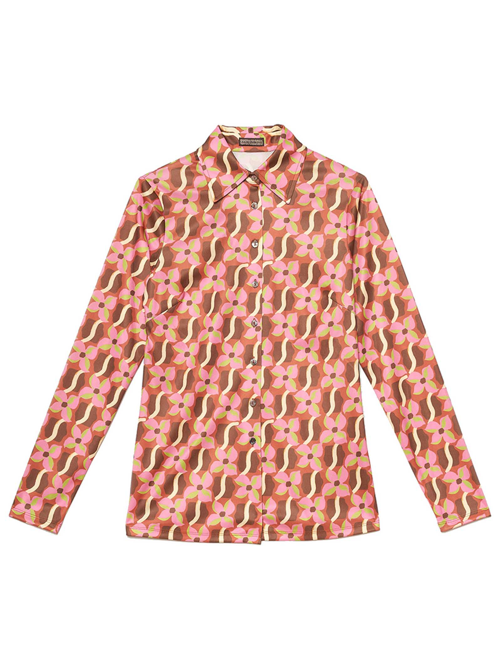 Women's Clothing Wavy Daff Jersey Stretch Shirt Printed in Pink with Pattern Maliparmi | Shirts and tops | JM445570524B3251